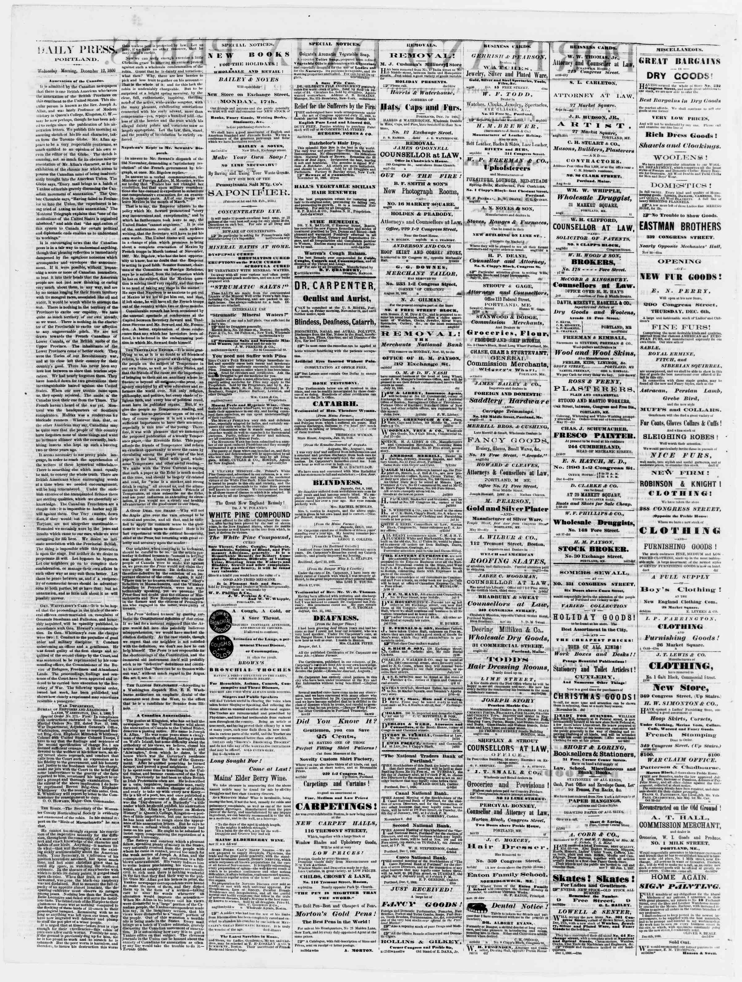 Newspaper of Portland Daily Press dated December 12, 1866 Page 2