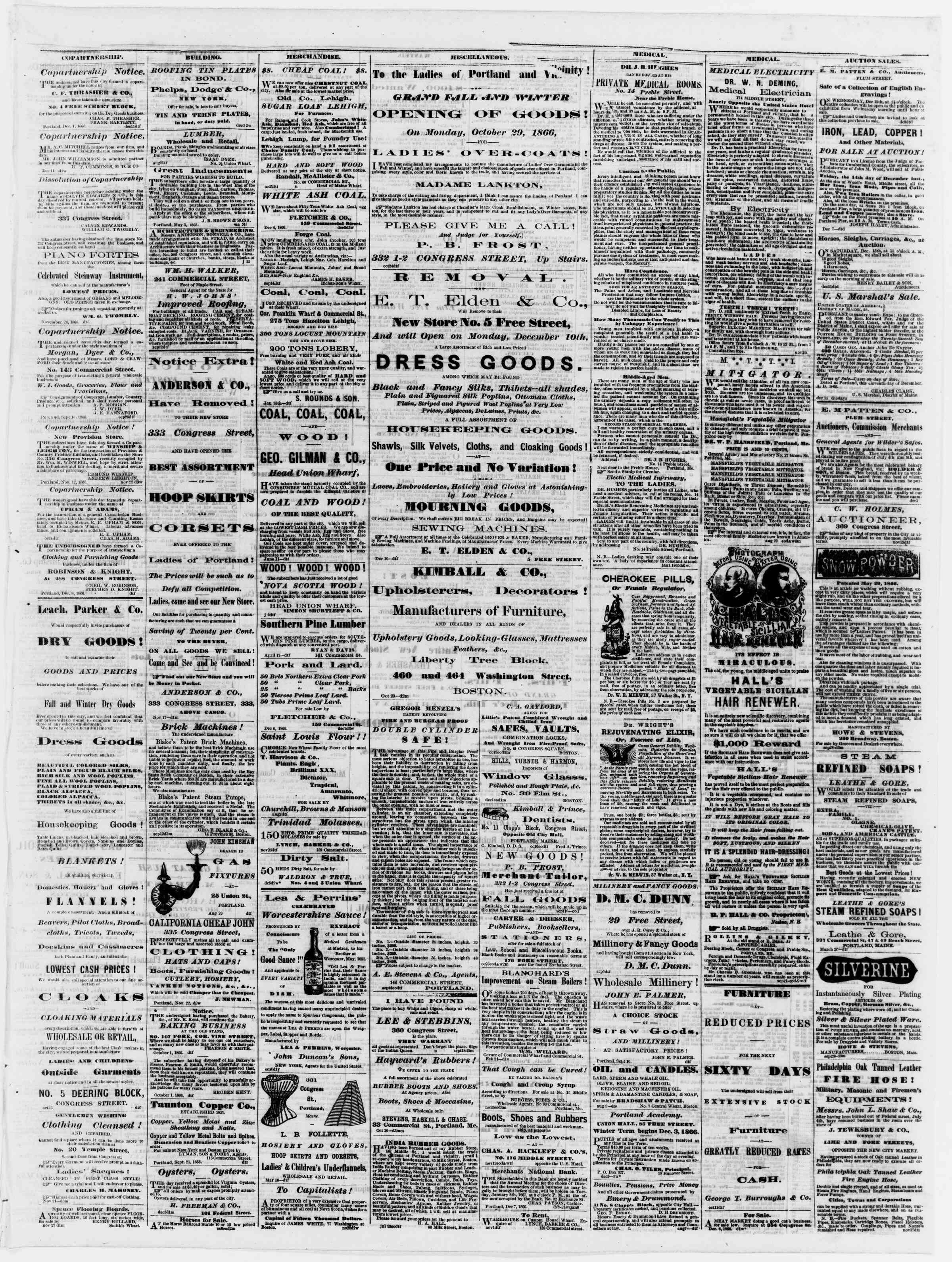 Newspaper of Portland Daily Press dated December 12, 1866 Page 3