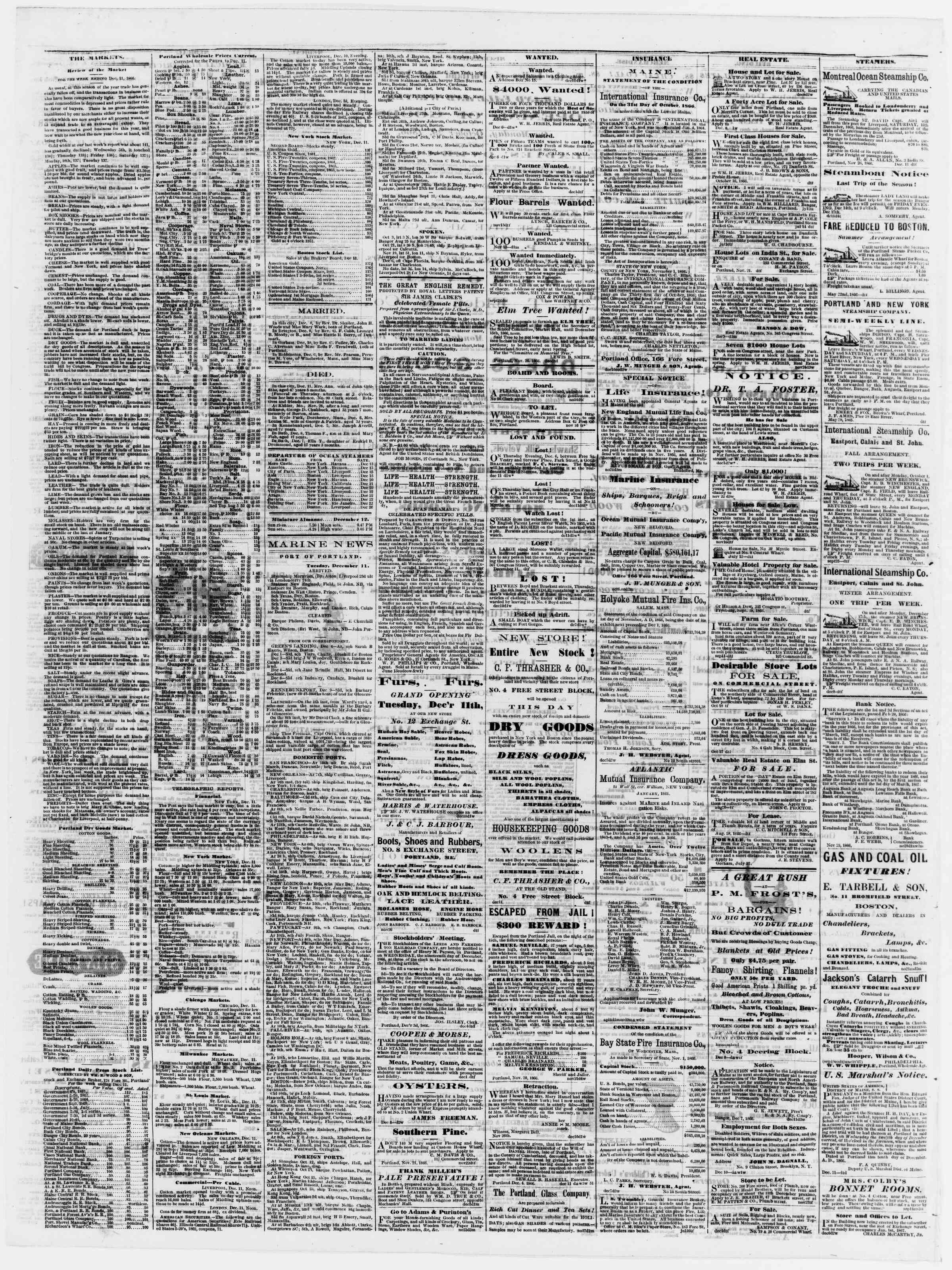 Newspaper of Portland Daily Press dated December 12, 1866 Page 4