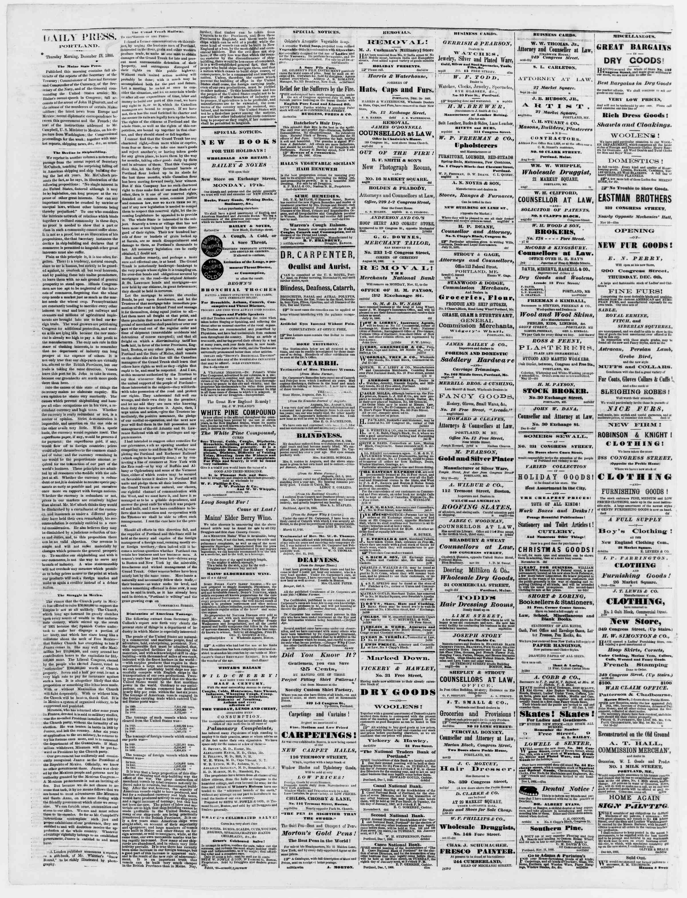Newspaper of Portland Daily Press dated December 13, 1866 Page 2