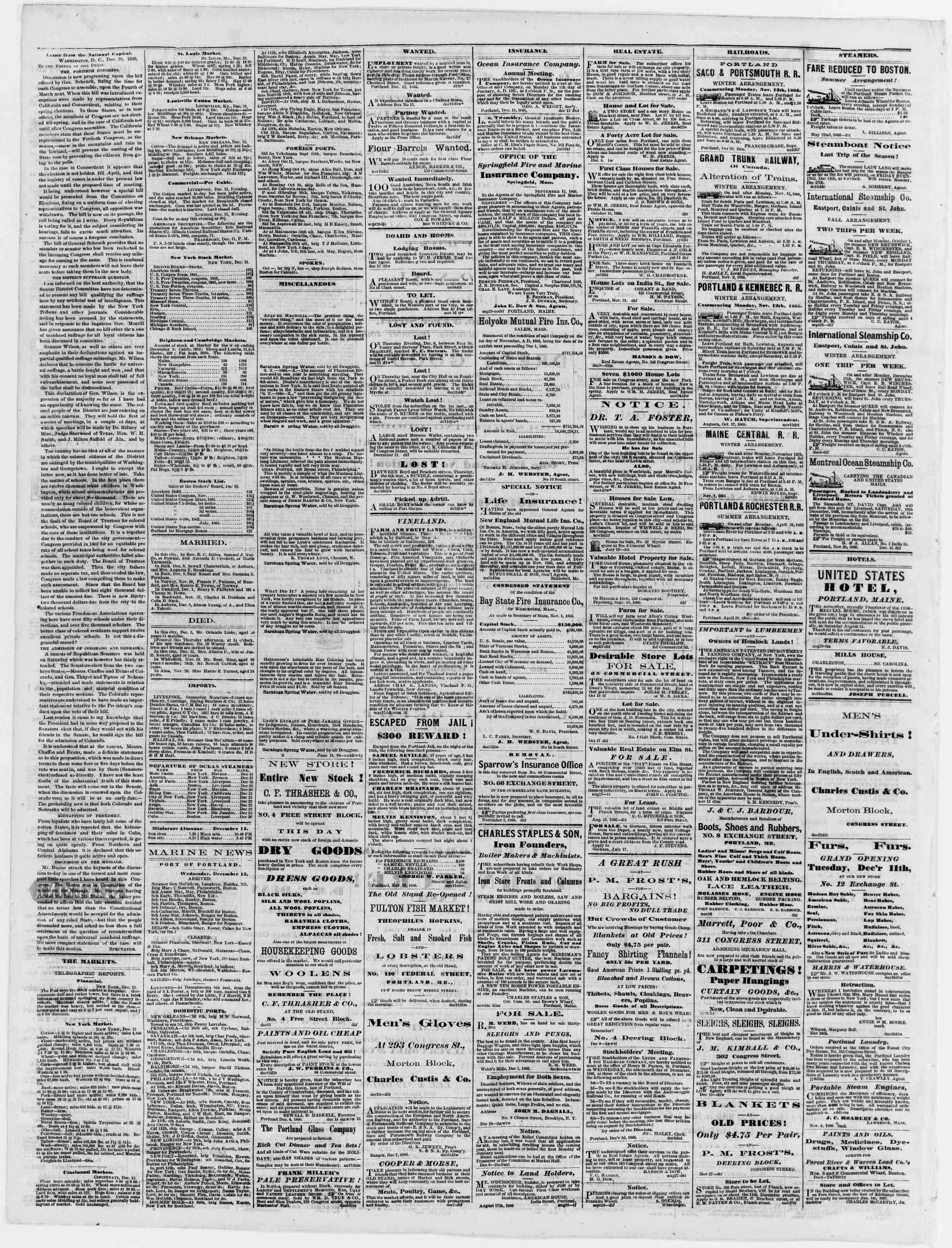 Newspaper of Portland Daily Press dated December 13, 1866 Page 4