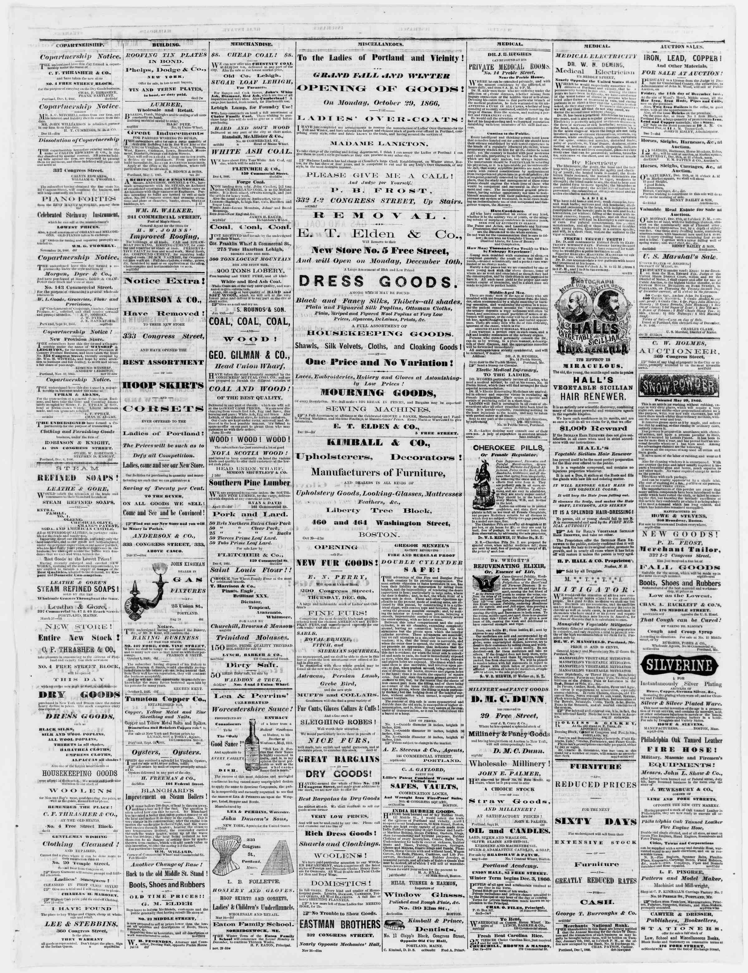 Newspaper of Portland Daily Press dated December 14, 1866 Page 3