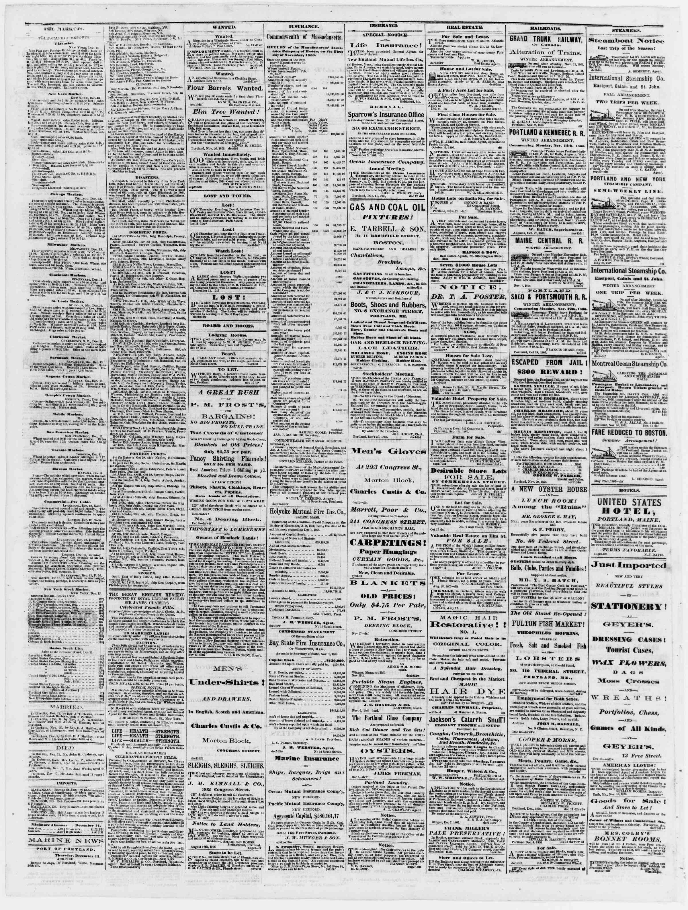 Newspaper of Portland Daily Press dated December 14, 1866 Page 4
