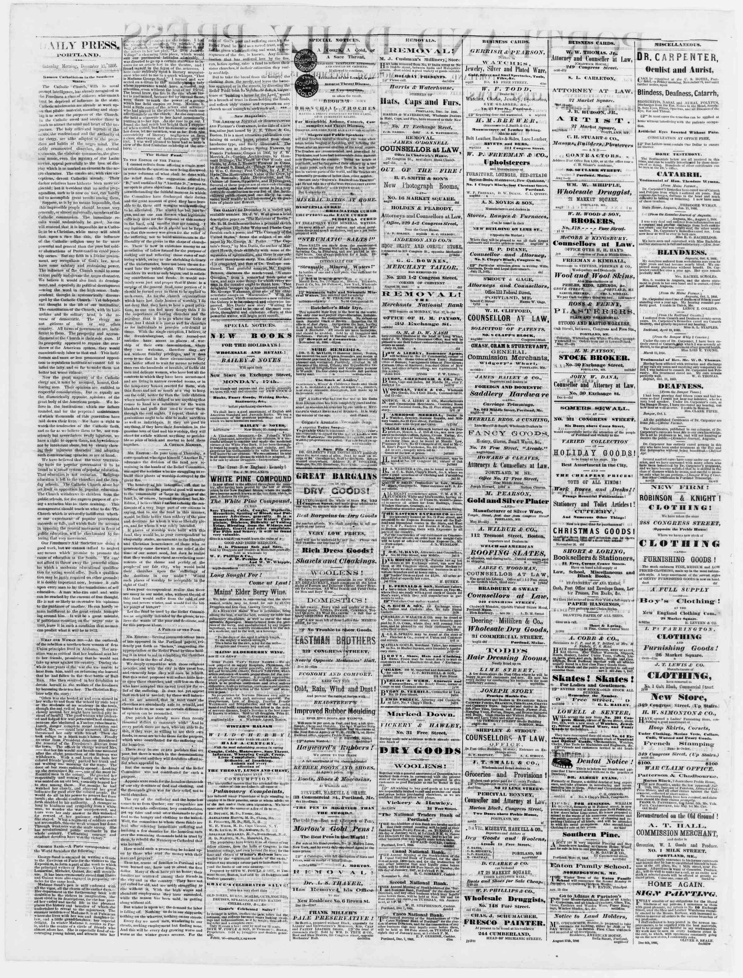Newspaper of Portland Daily Press dated December 15, 1866 Page 2