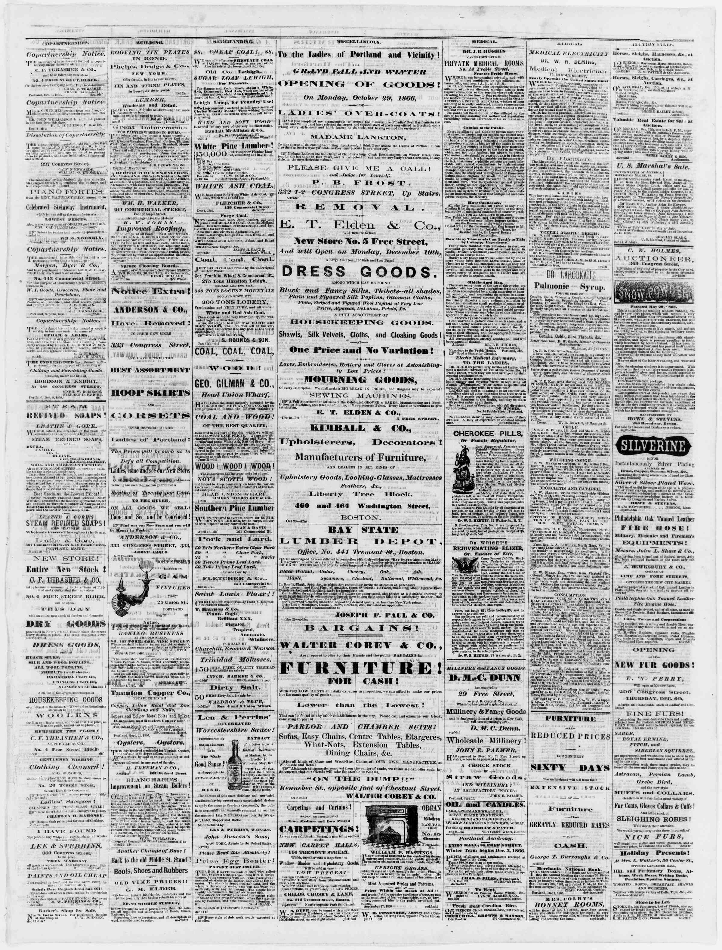 Newspaper of Portland Daily Press dated December 15, 1866 Page 3