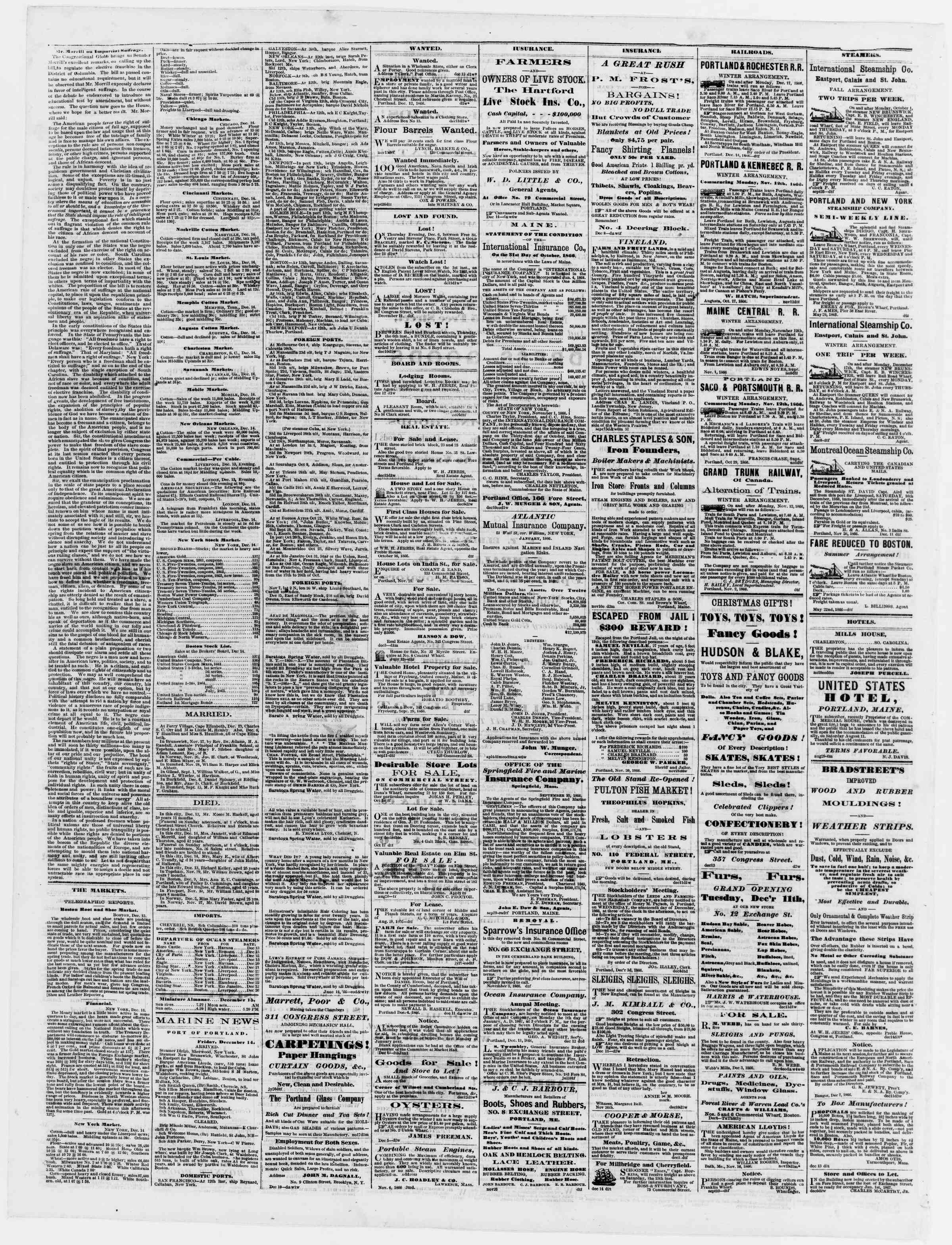 Newspaper of Portland Daily Press dated December 15, 1866 Page 4