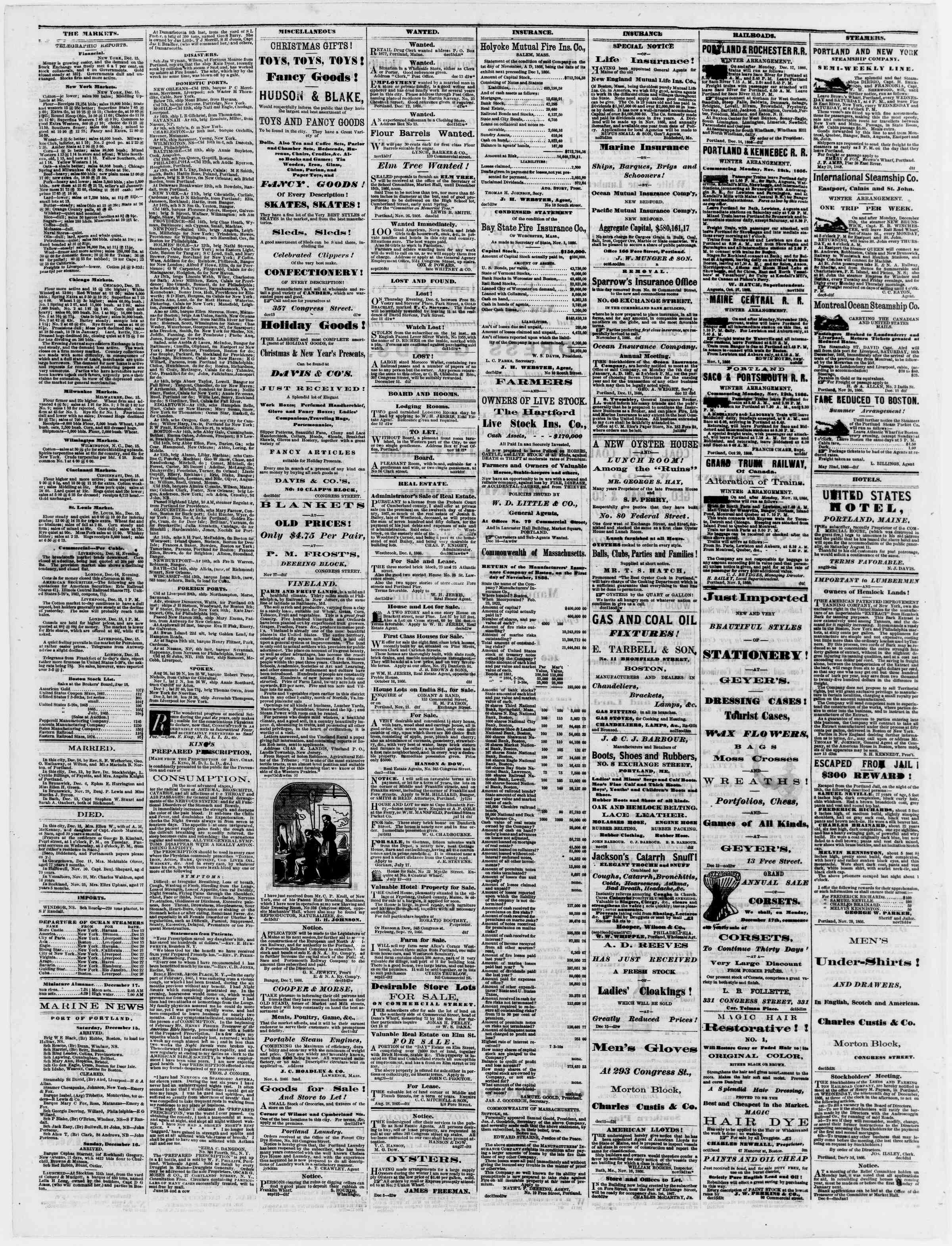 Newspaper of Portland Daily Press dated December 17, 1866 Page 4