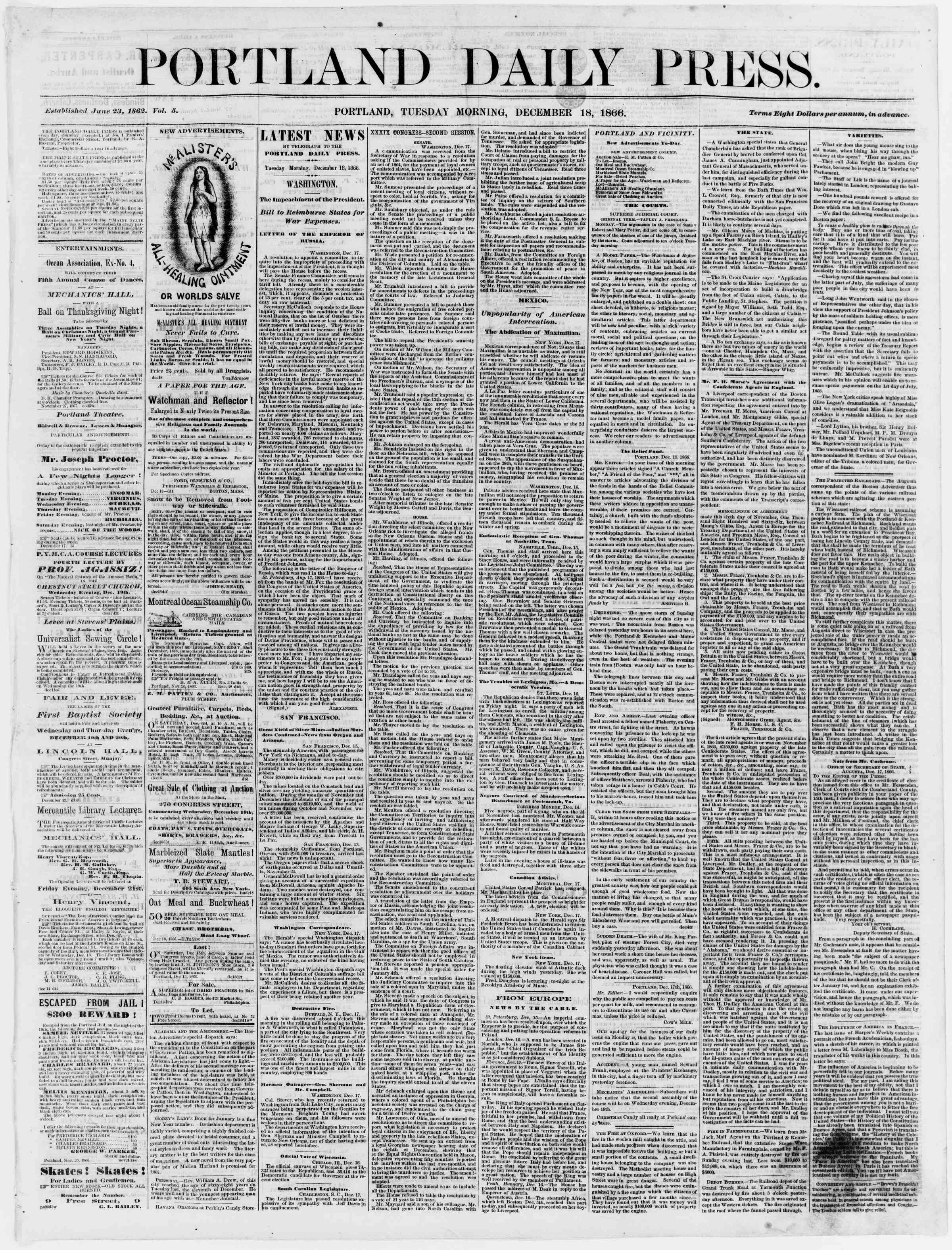 Newspaper of Portland Daily Press dated December 18, 1866 Page 1