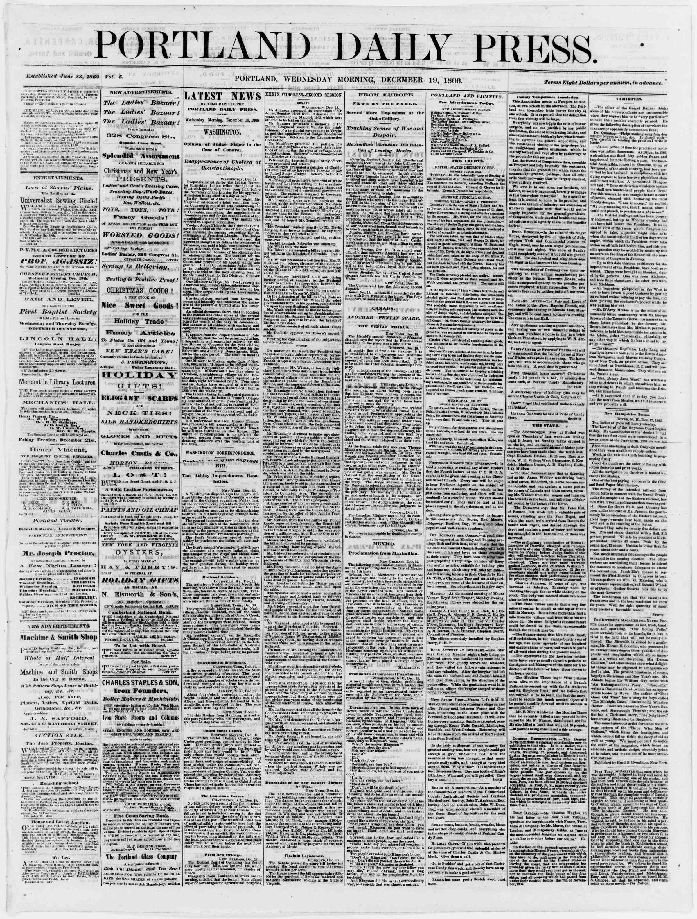 Newspaper of Portland Daily Press dated December 19, 1866 Page 1