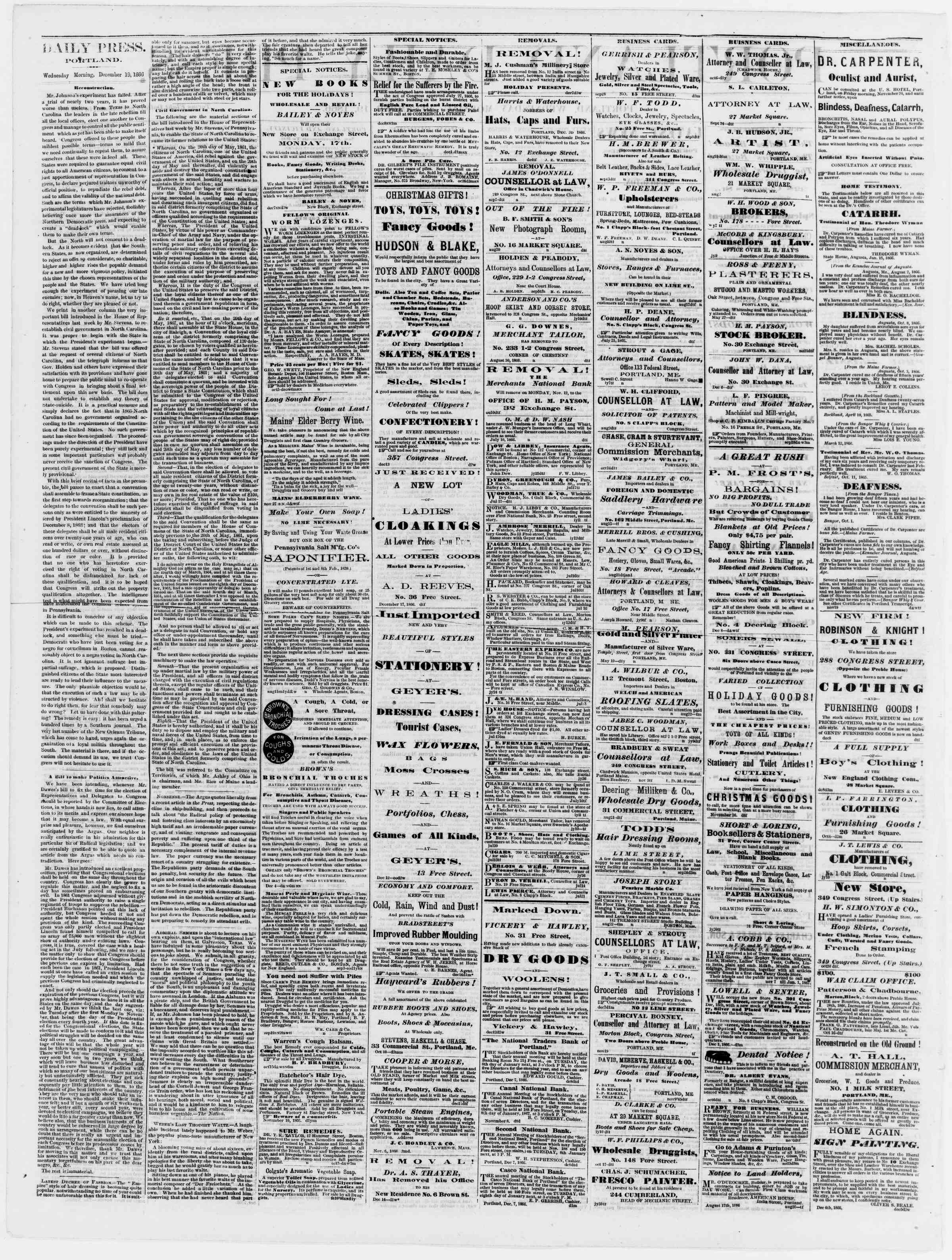 Newspaper of Portland Daily Press dated December 19, 1866 Page 2