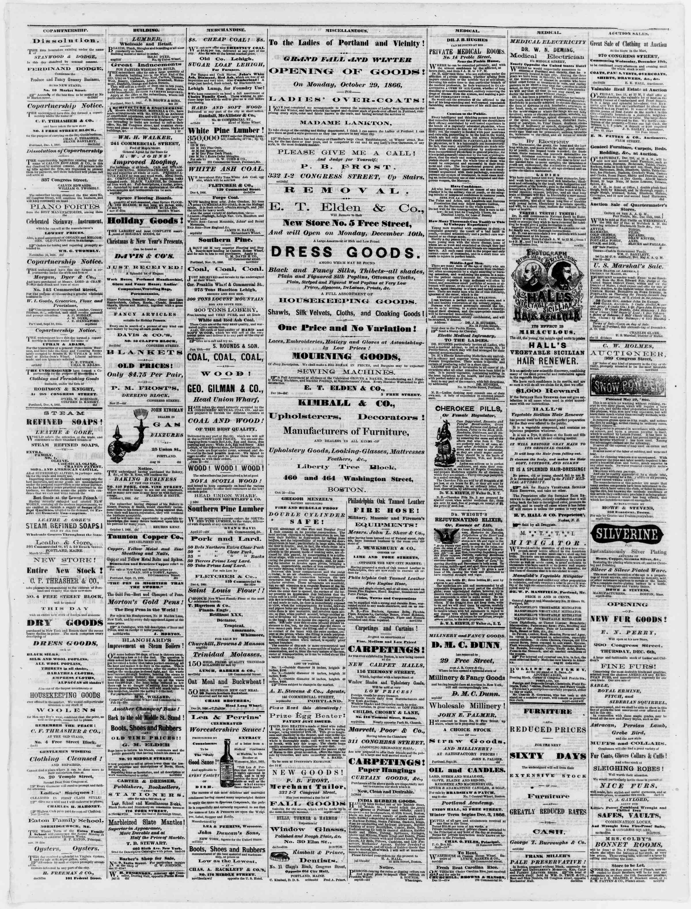 Newspaper of Portland Daily Press dated December 19, 1866 Page 3