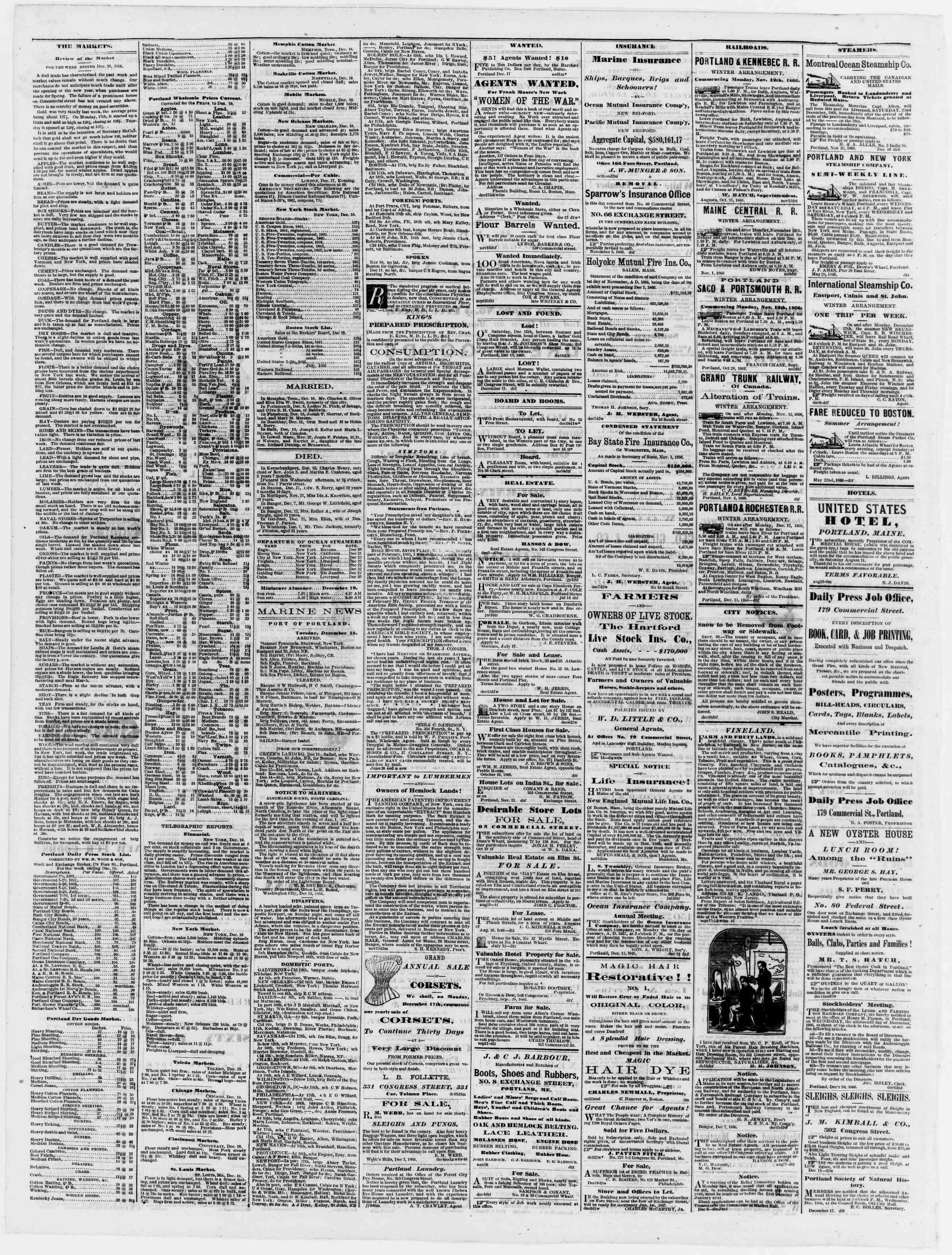 Newspaper of Portland Daily Press dated December 19, 1866 Page 4