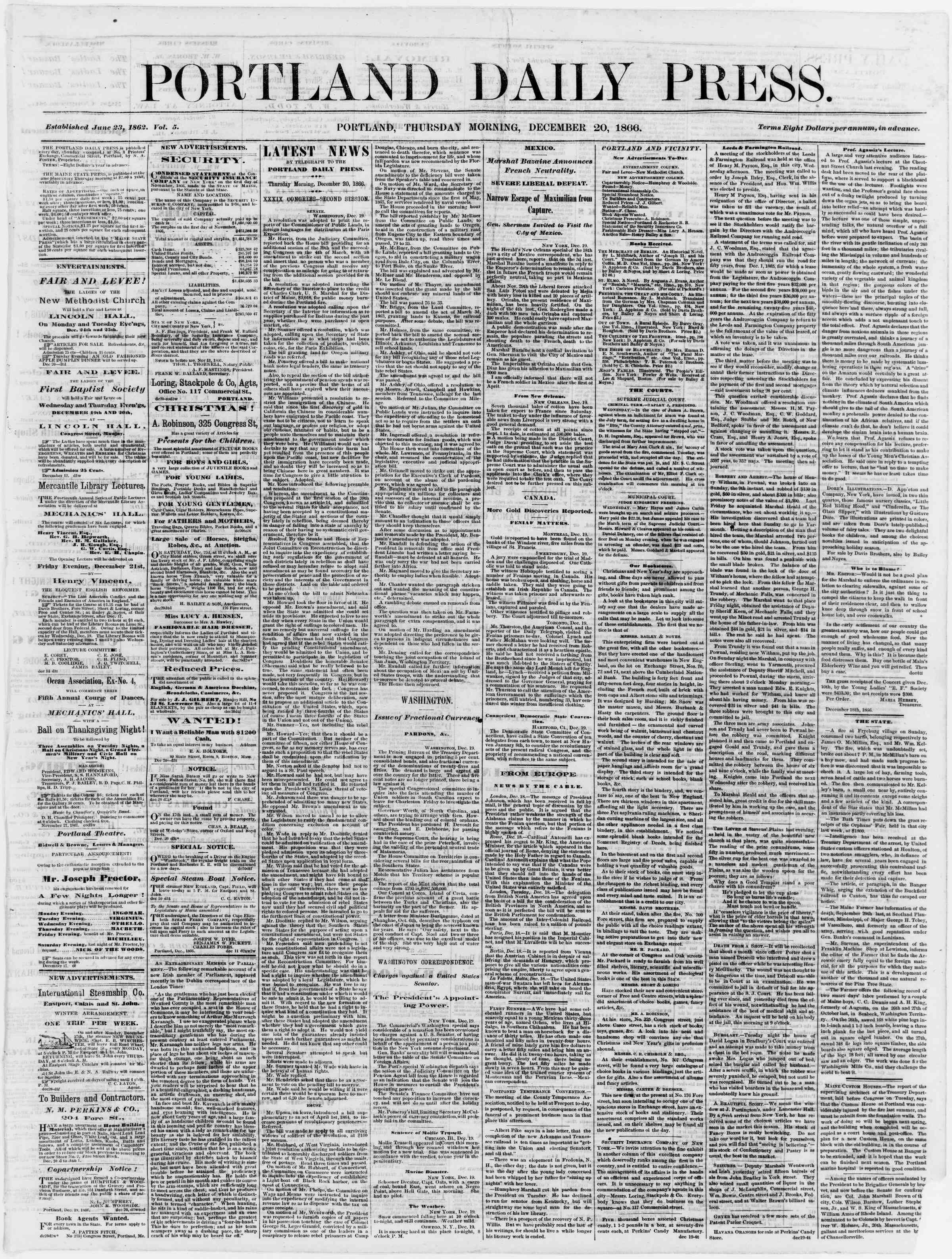 Newspaper of Portland Daily Press dated December 20, 1866 Page 1
