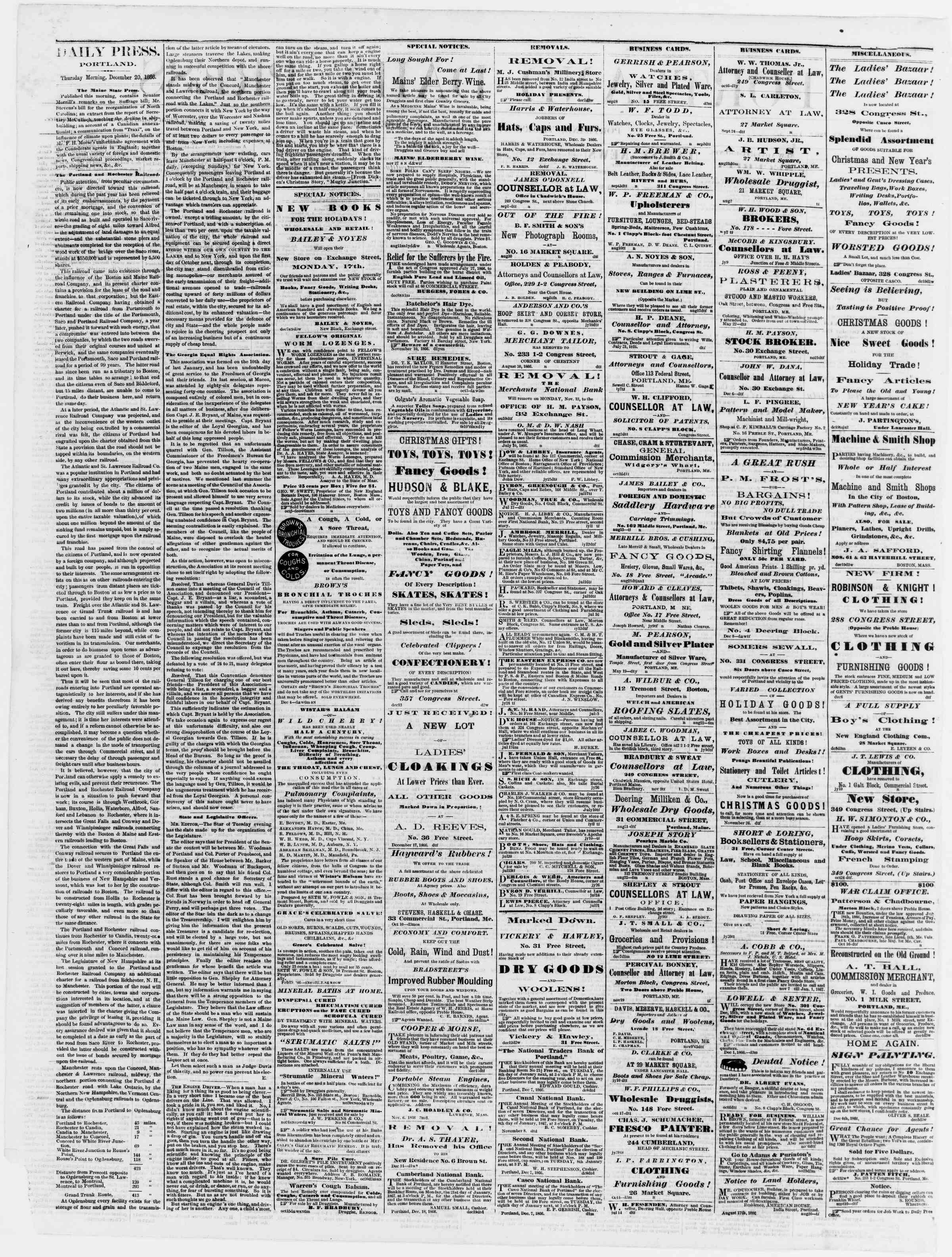 Newspaper of Portland Daily Press dated December 20, 1866 Page 2