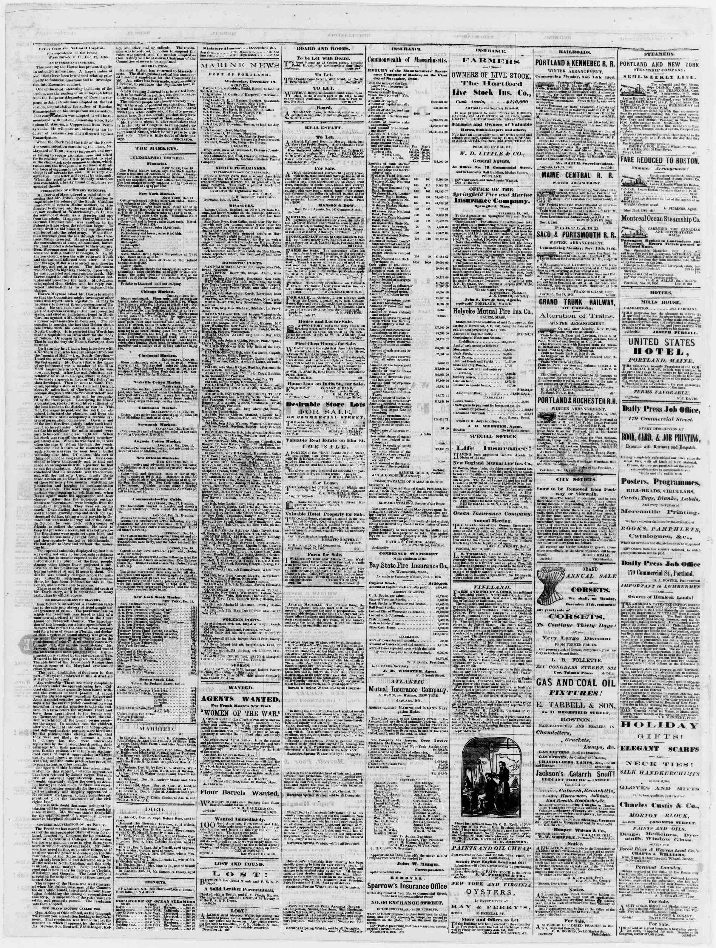Newspaper of Portland Daily Press dated December 20, 1866 Page 4