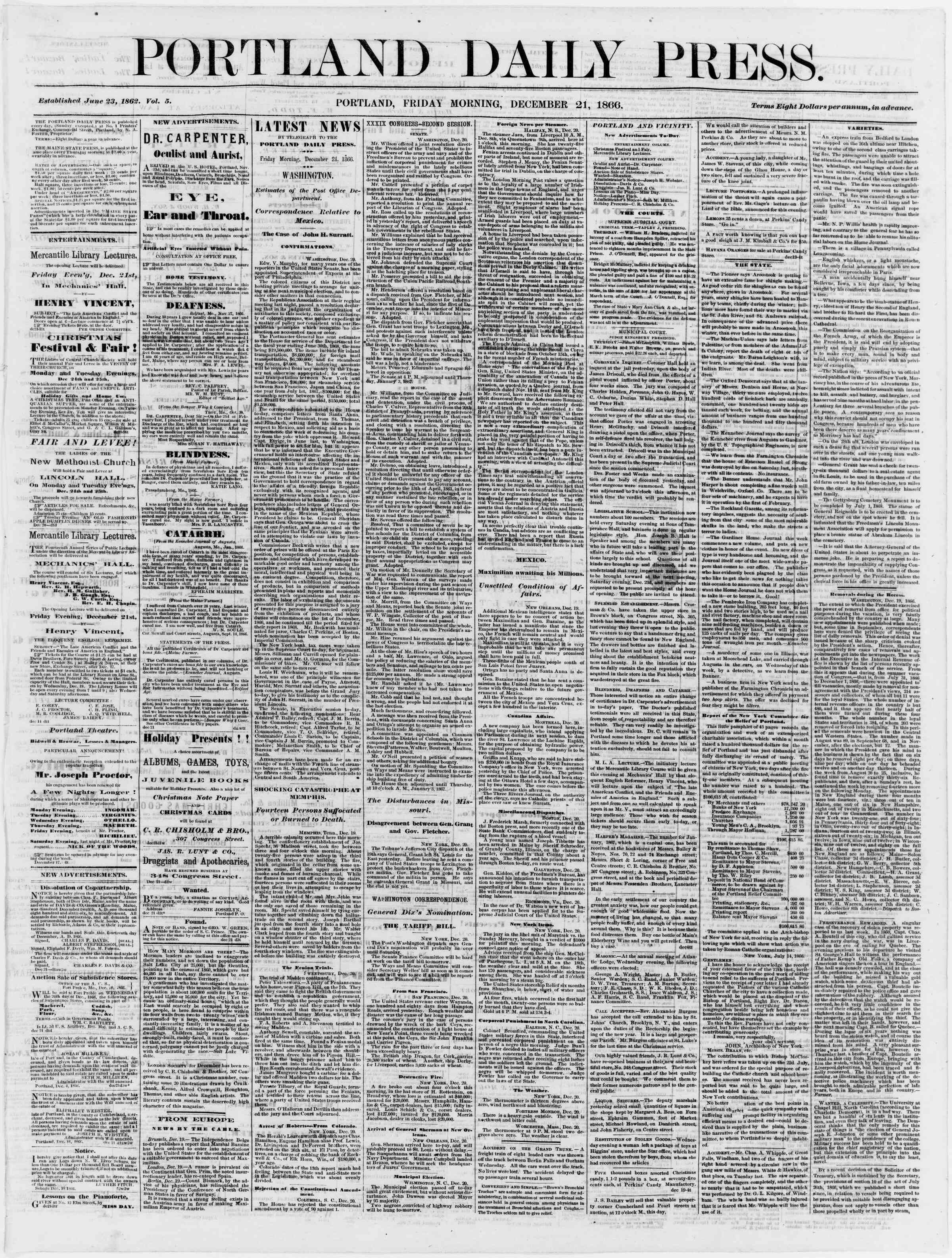 Newspaper of Portland Daily Press dated December 21, 1866 Page 1