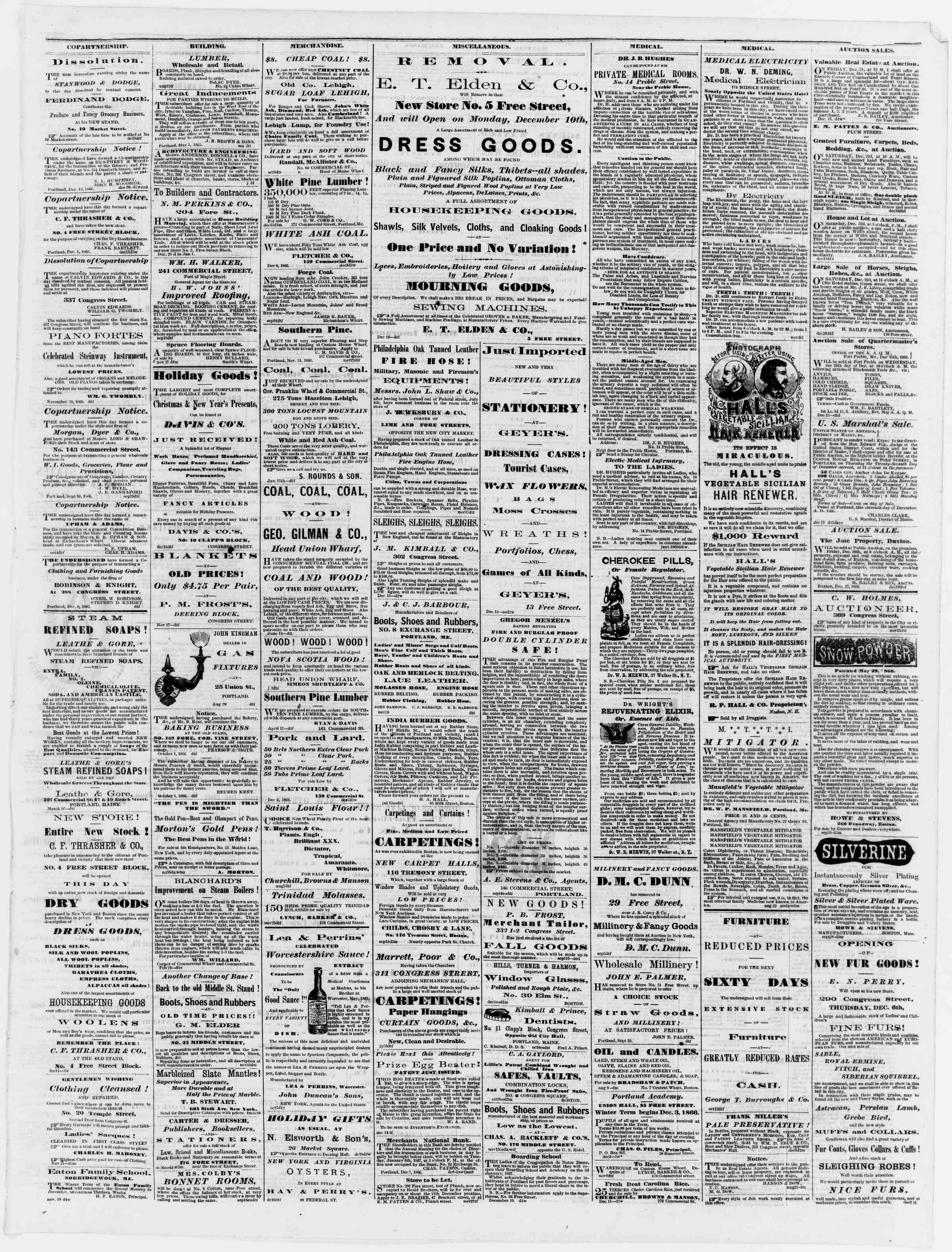 Newspaper of Portland Daily Press dated December 21, 1866 Page 3