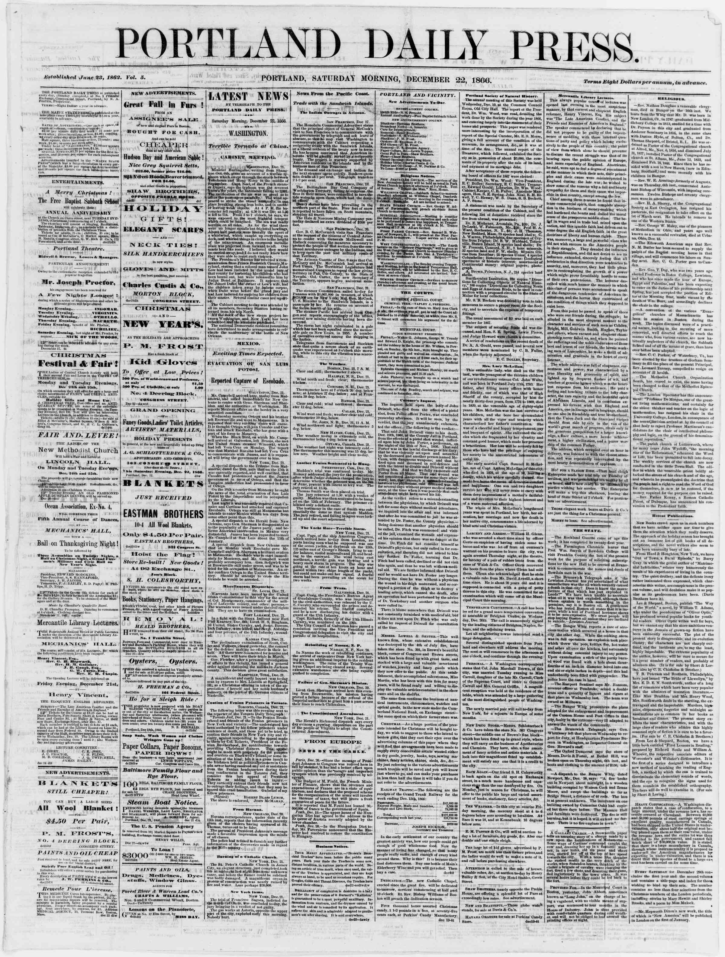 Newspaper of Portland Daily Press dated December 22, 1866 Page 1