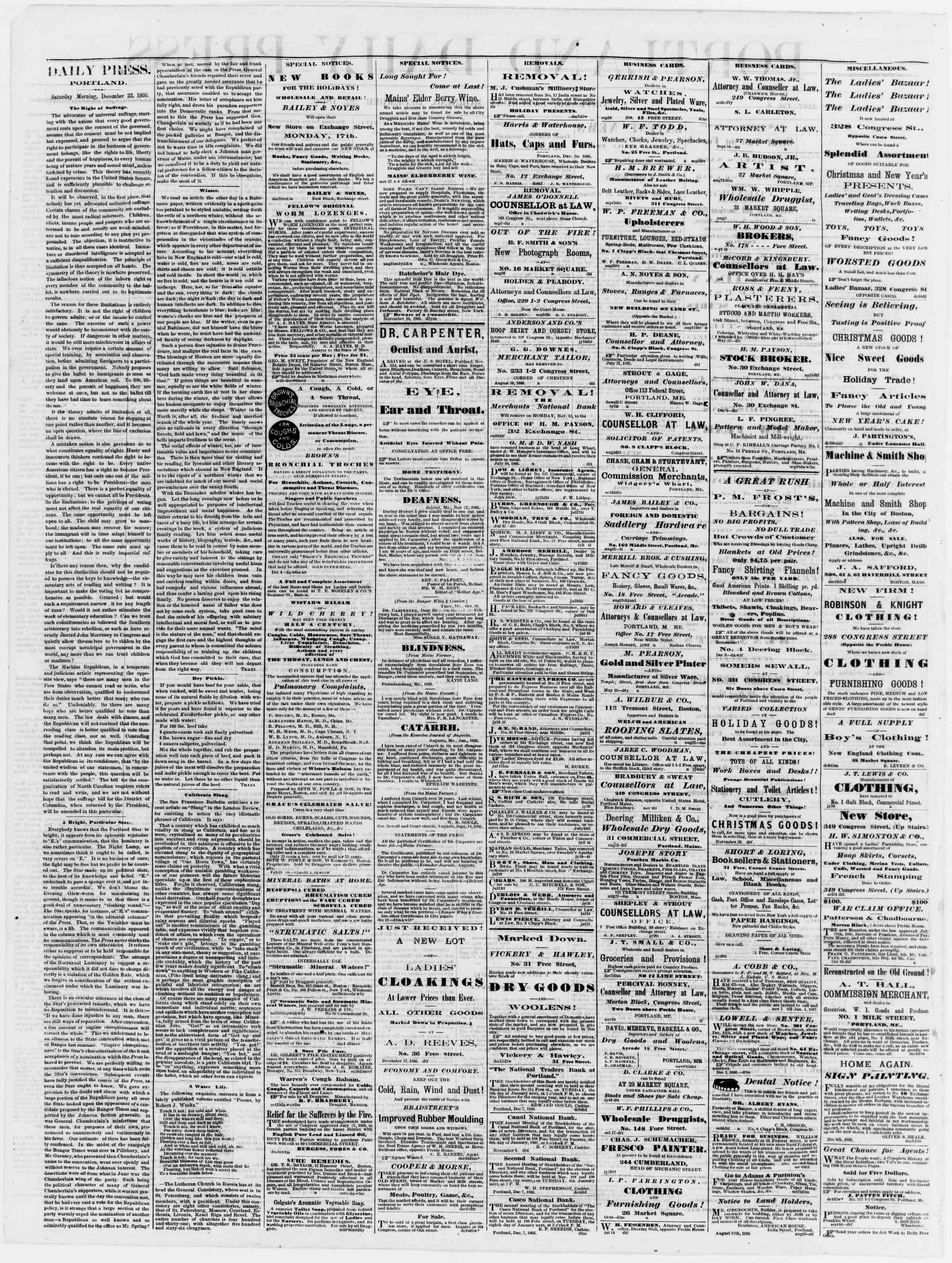 Newspaper of Portland Daily Press dated December 22, 1866 Page 2