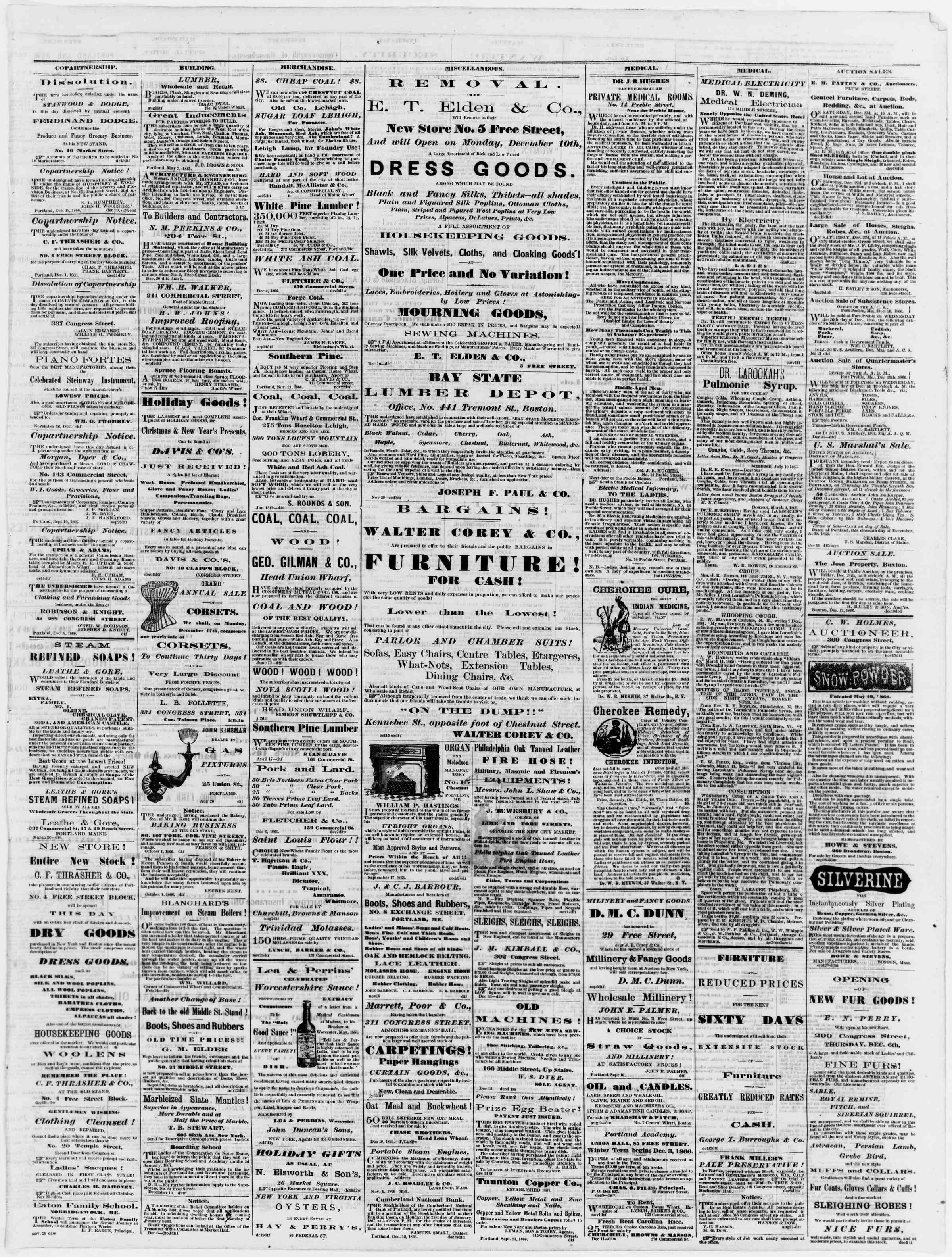 Newspaper of Portland Daily Press dated December 22, 1866 Page 3