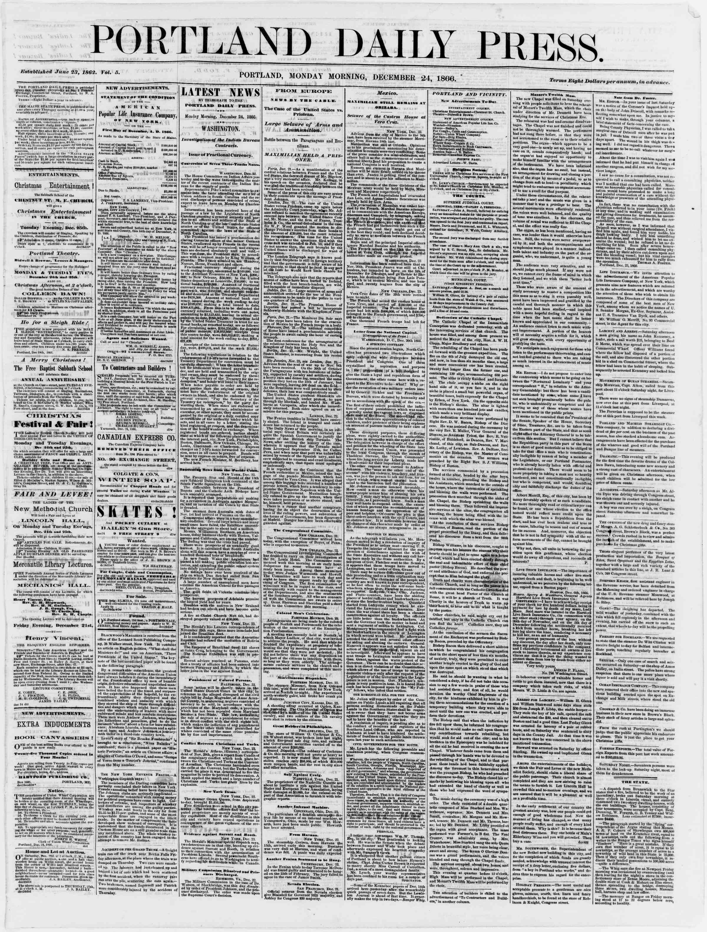 Newspaper of Portland Daily Press dated December 24, 1866 Page 1