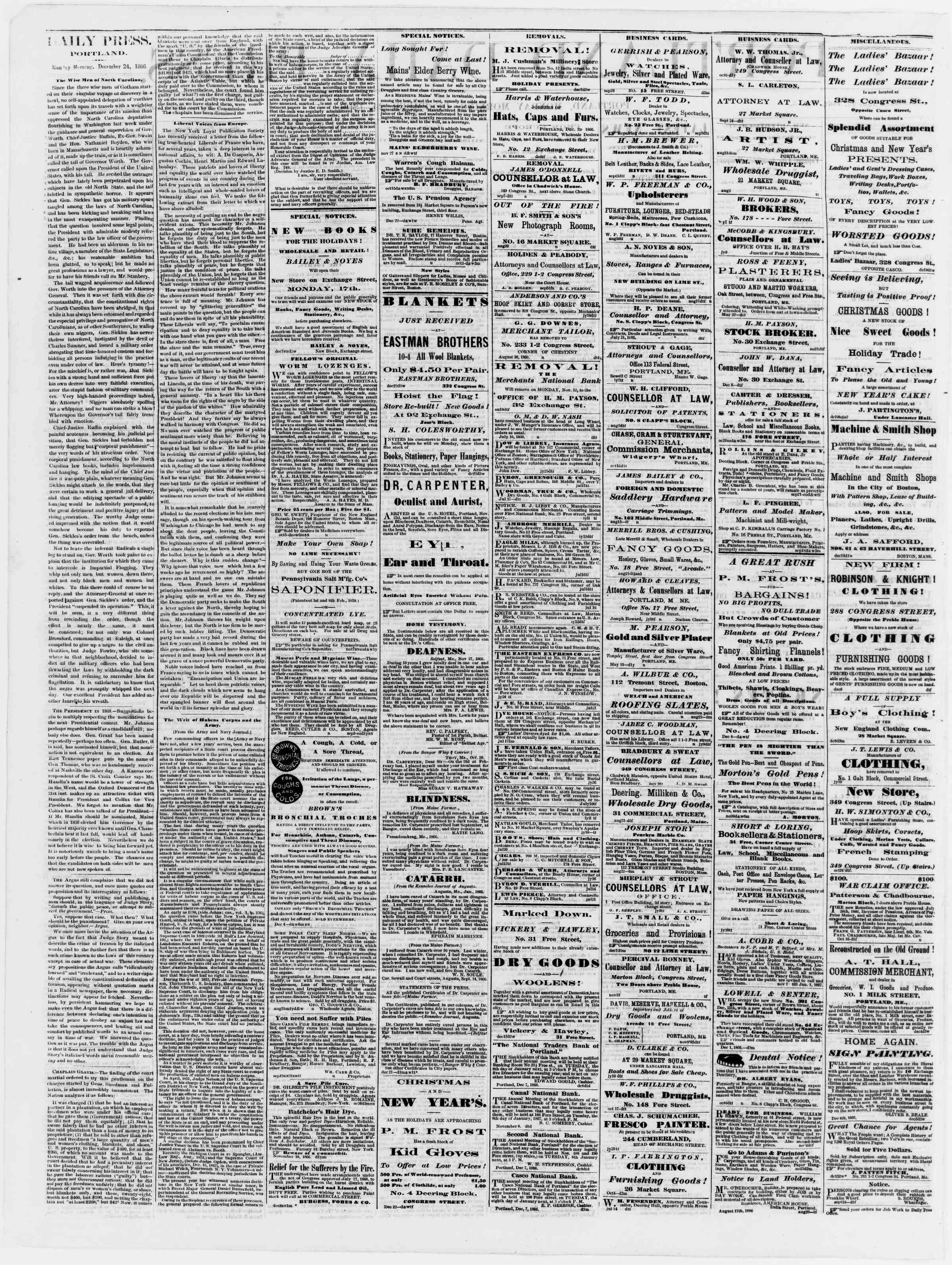 Newspaper of Portland Daily Press dated December 24, 1866 Page 2