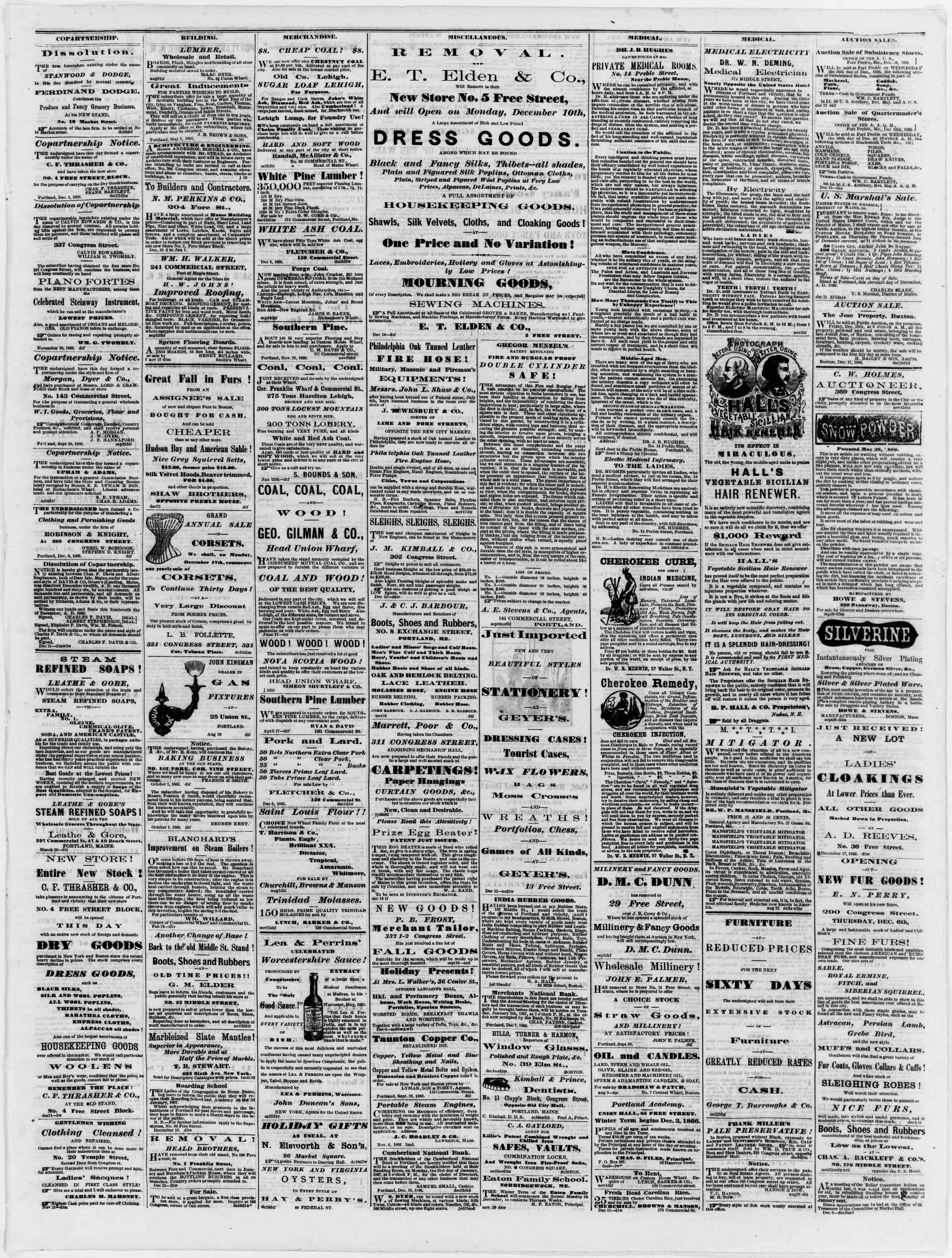 Newspaper of Portland Daily Press dated December 24, 1866 Page 3