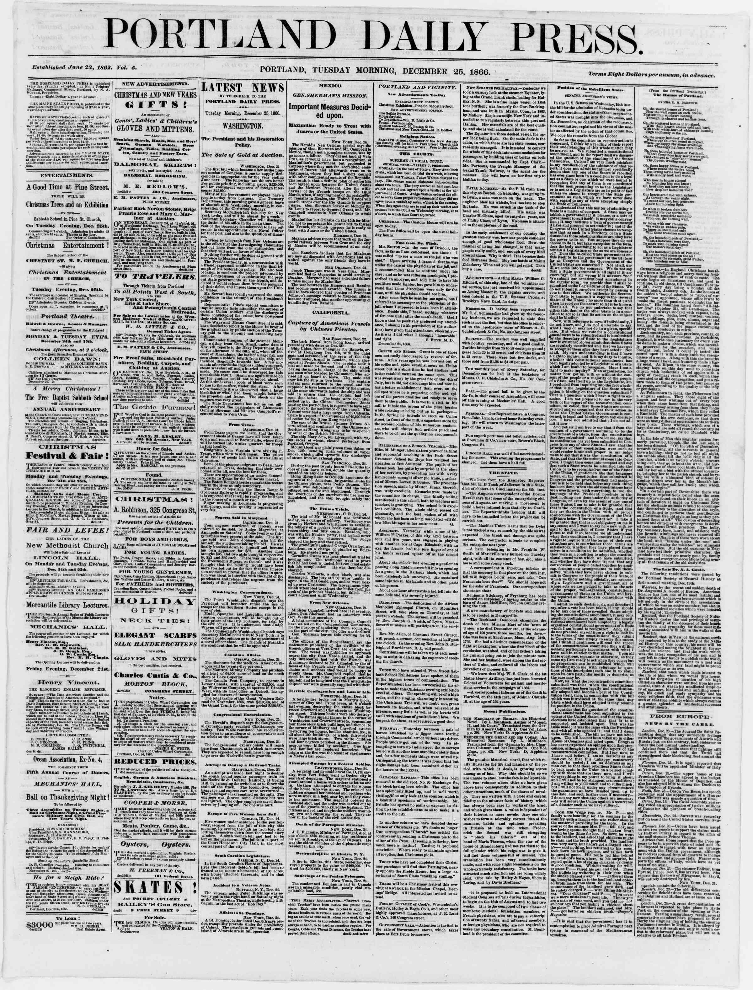 Newspaper of Portland Daily Press dated December 25, 1866 Page 1