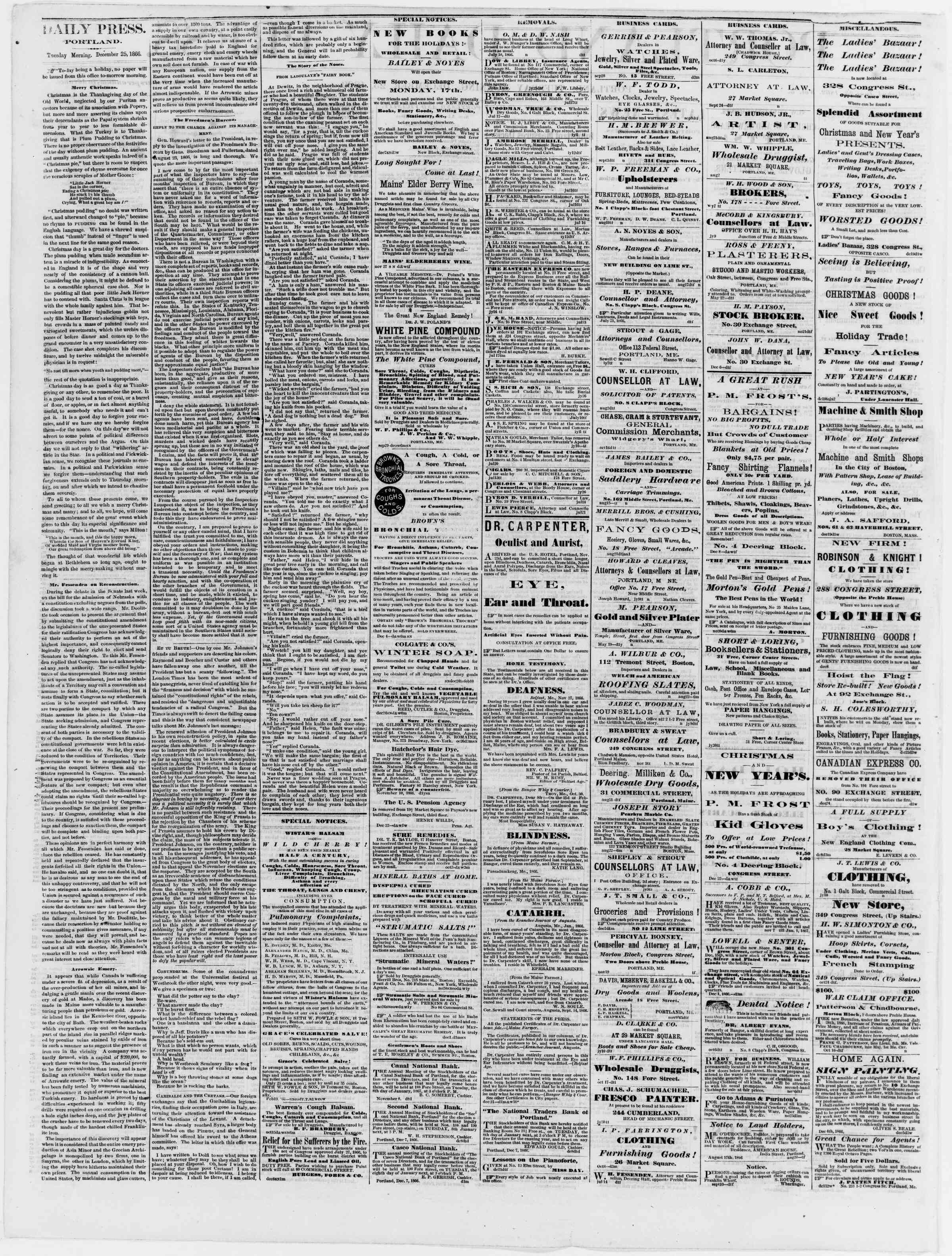 Newspaper of Portland Daily Press dated December 25, 1866 Page 2