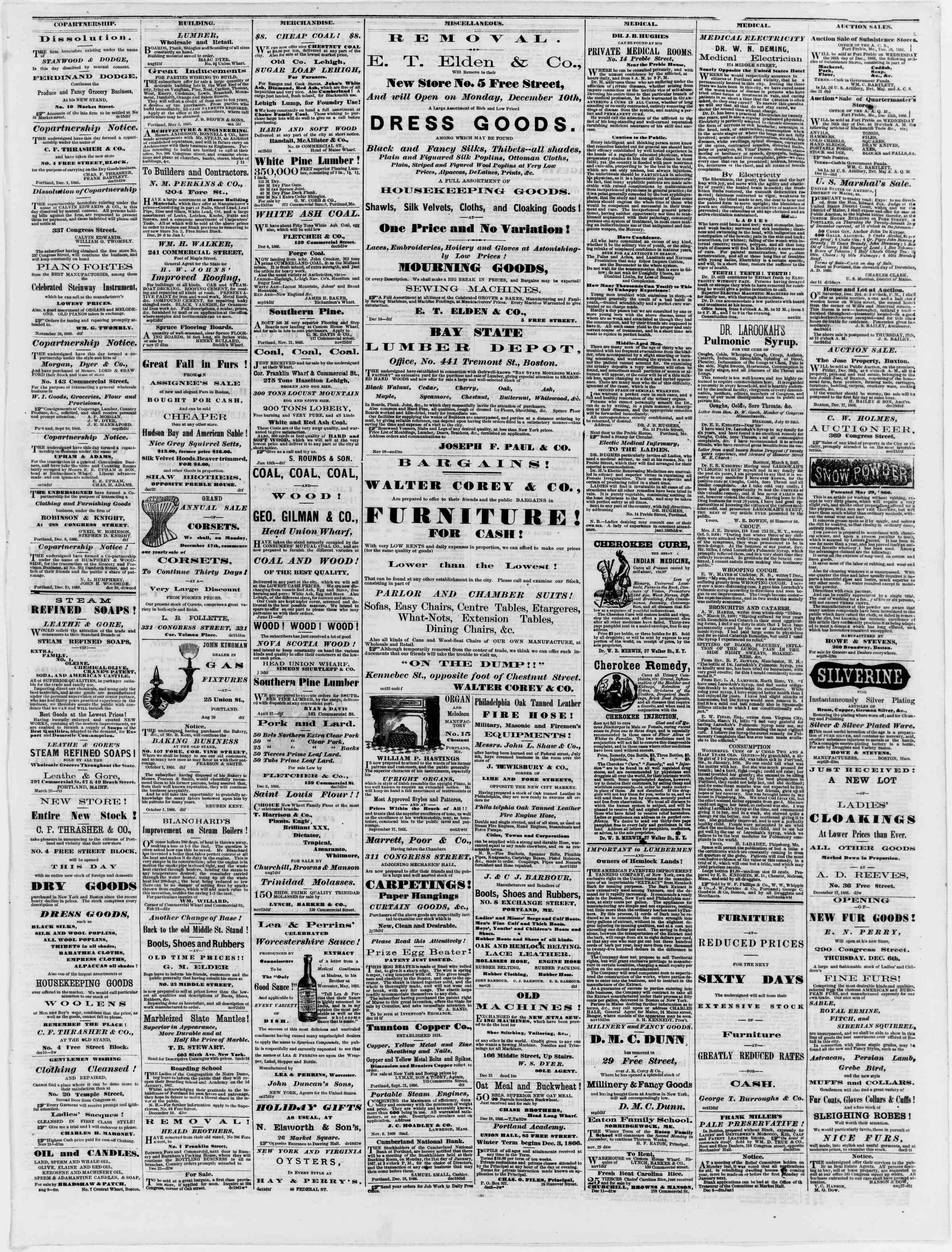 Newspaper of Portland Daily Press dated December 25, 1866 Page 3