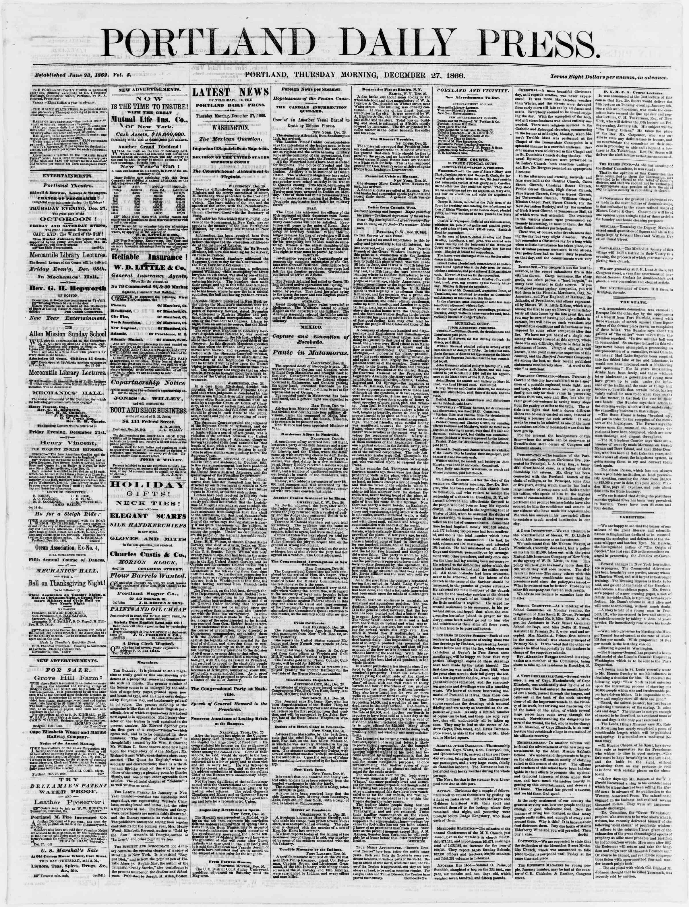 Newspaper of Portland Daily Press dated December 27, 1866 Page 1