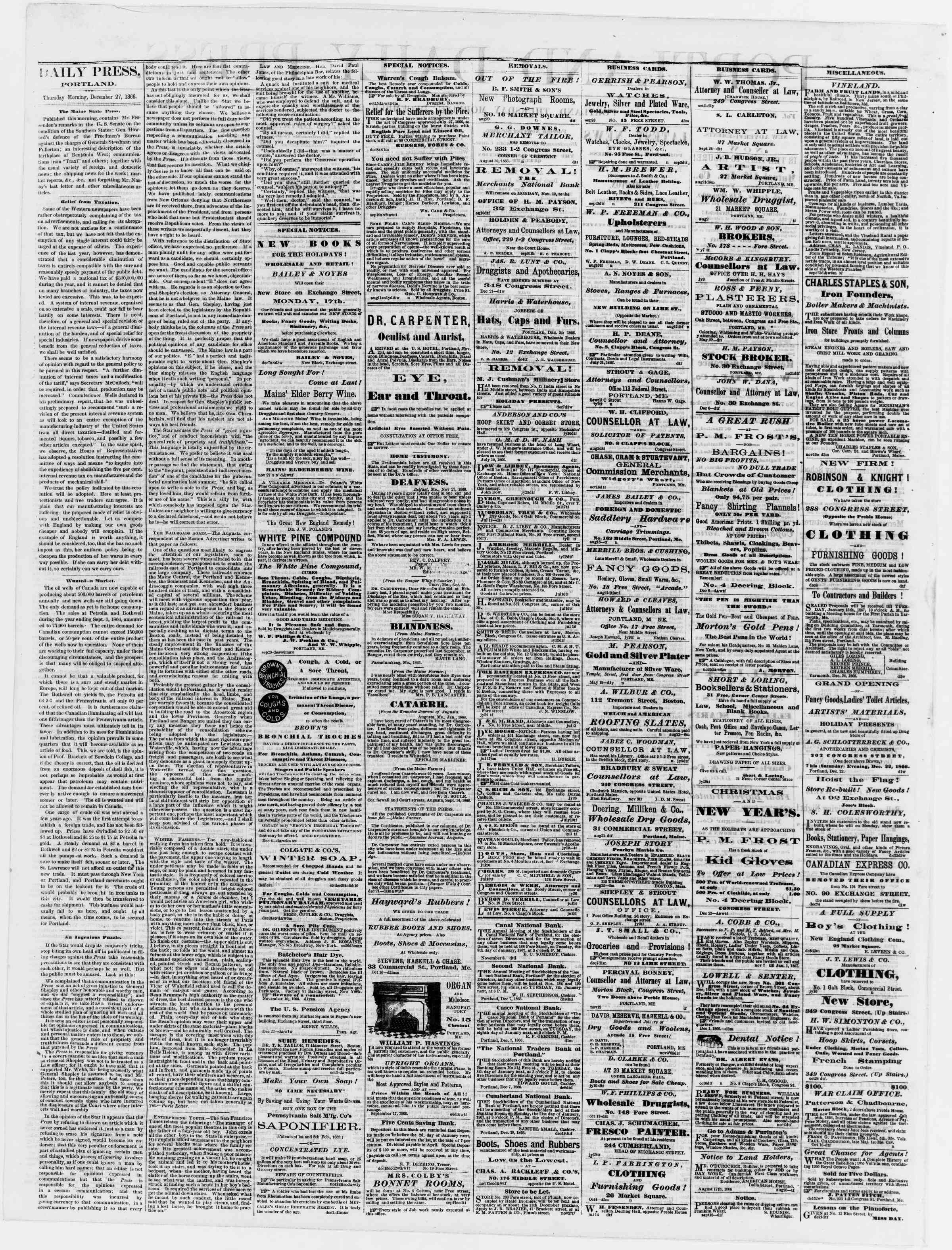 Newspaper of Portland Daily Press dated December 27, 1866 Page 2
