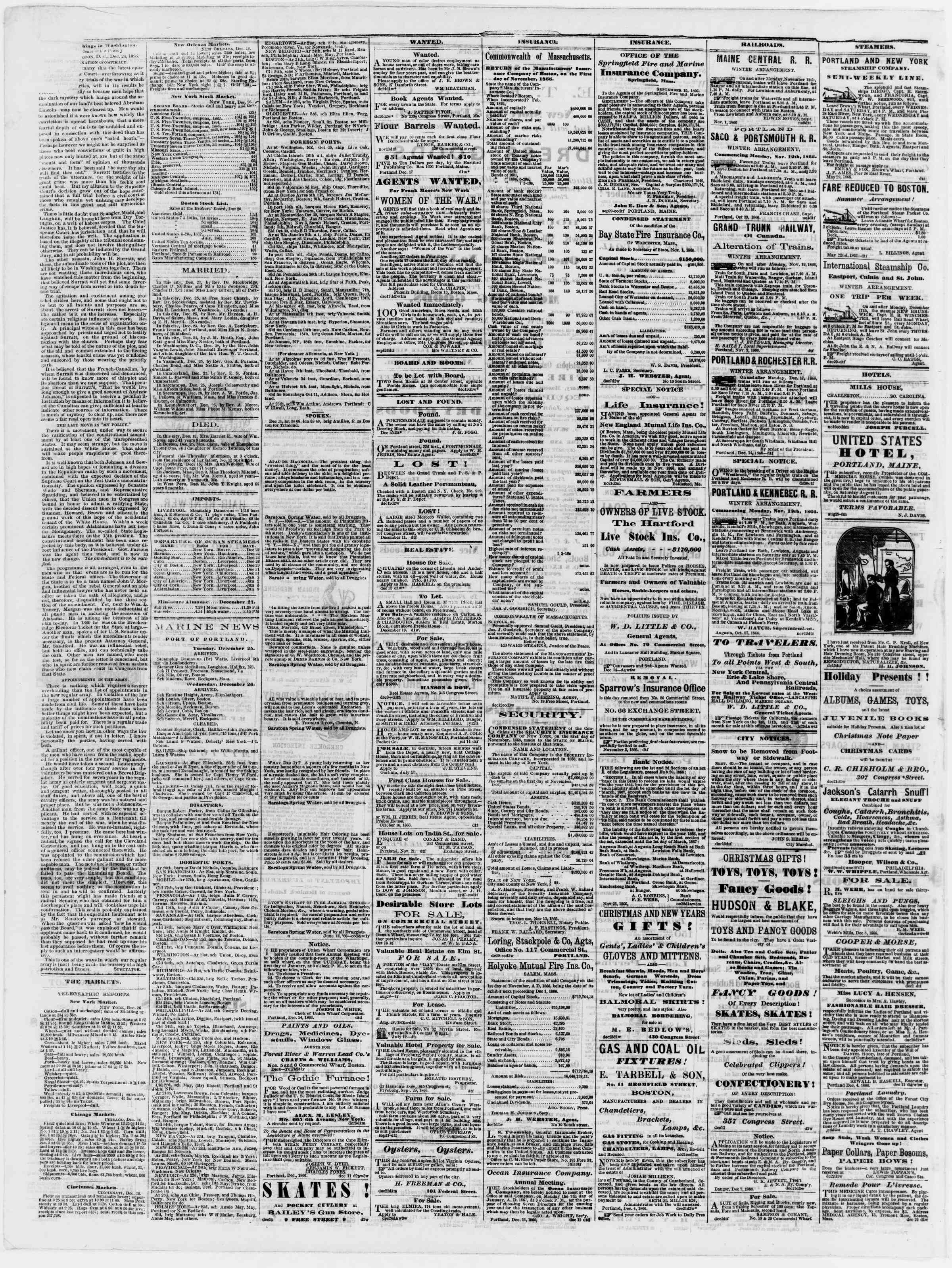 Newspaper of Portland Daily Press dated December 27, 1866 Page 4