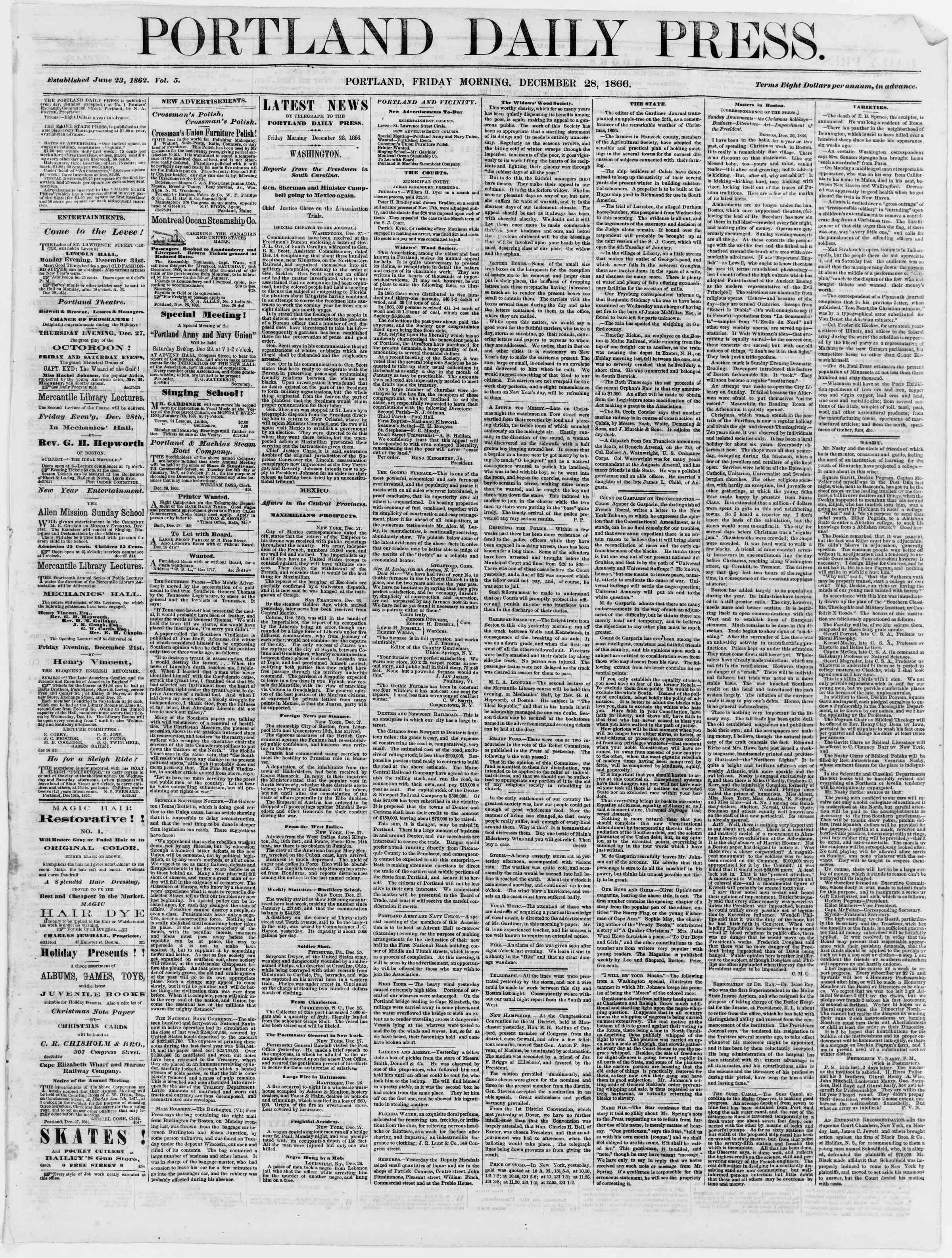 Newspaper of Portland Daily Press dated December 28, 1866 Page 1