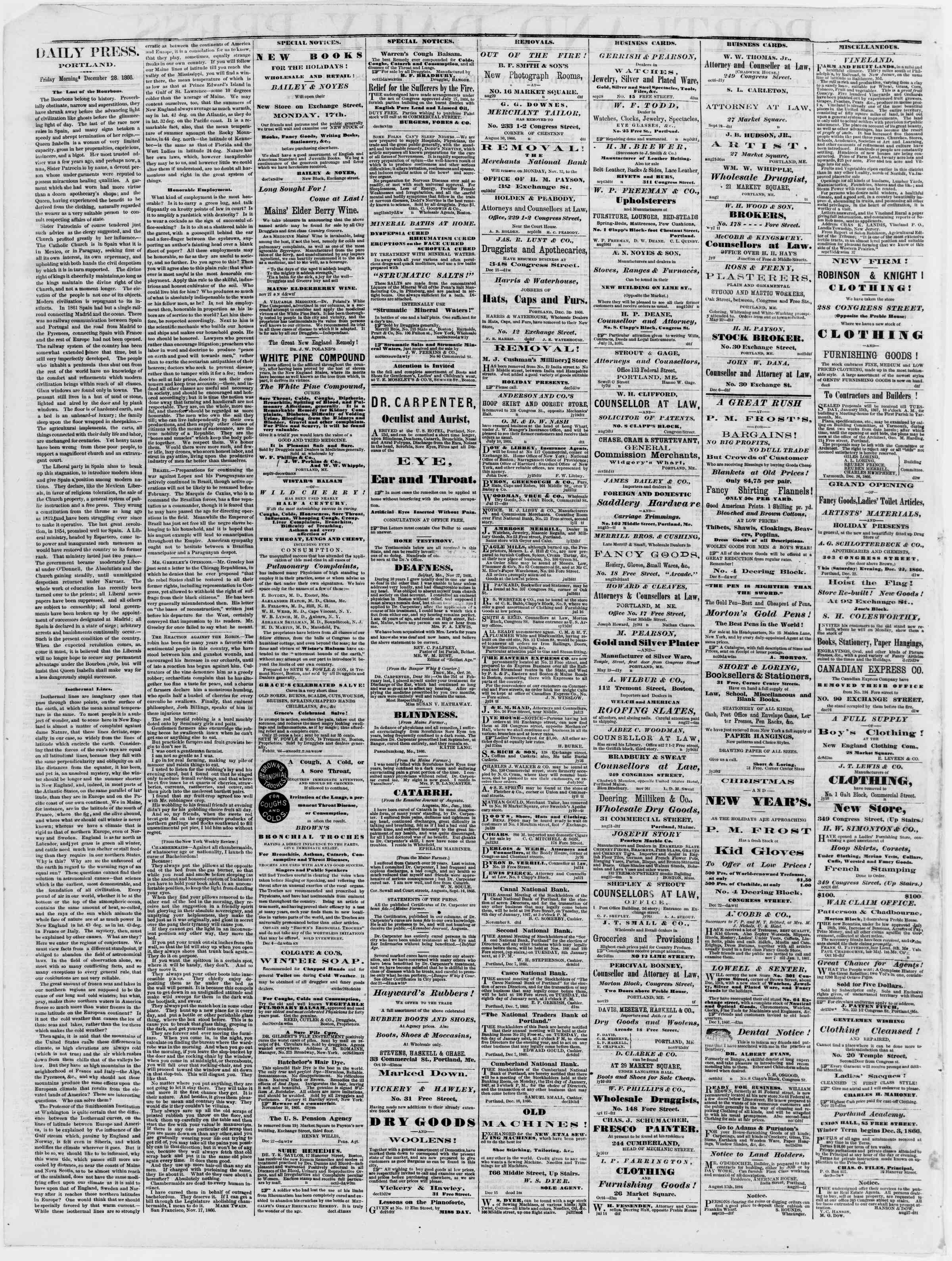 Newspaper of Portland Daily Press dated December 28, 1866 Page 2