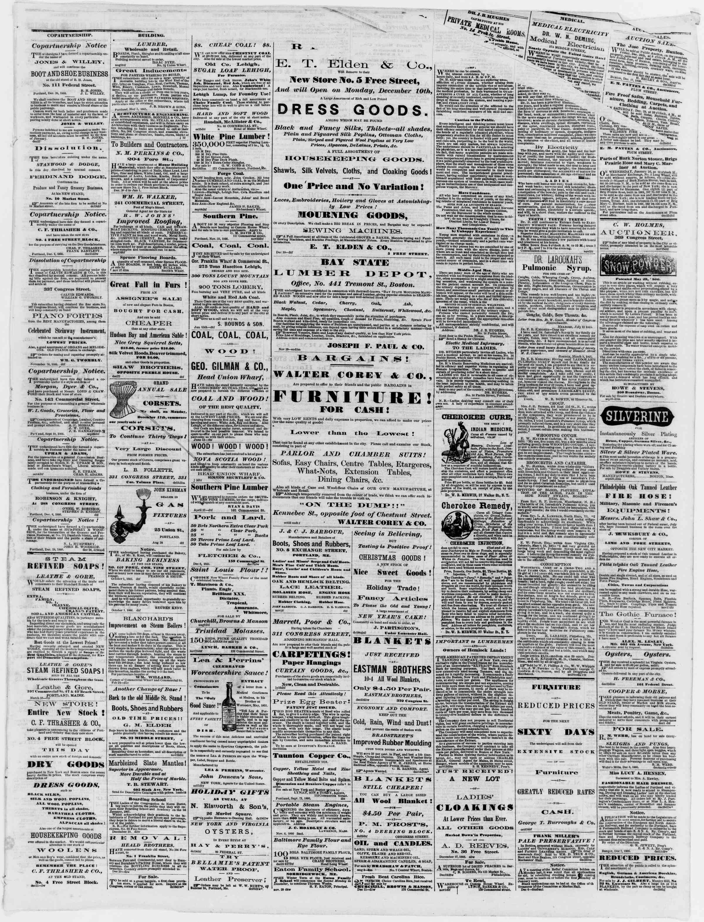 Newspaper of Portland Daily Press dated December 28, 1866 Page 3
