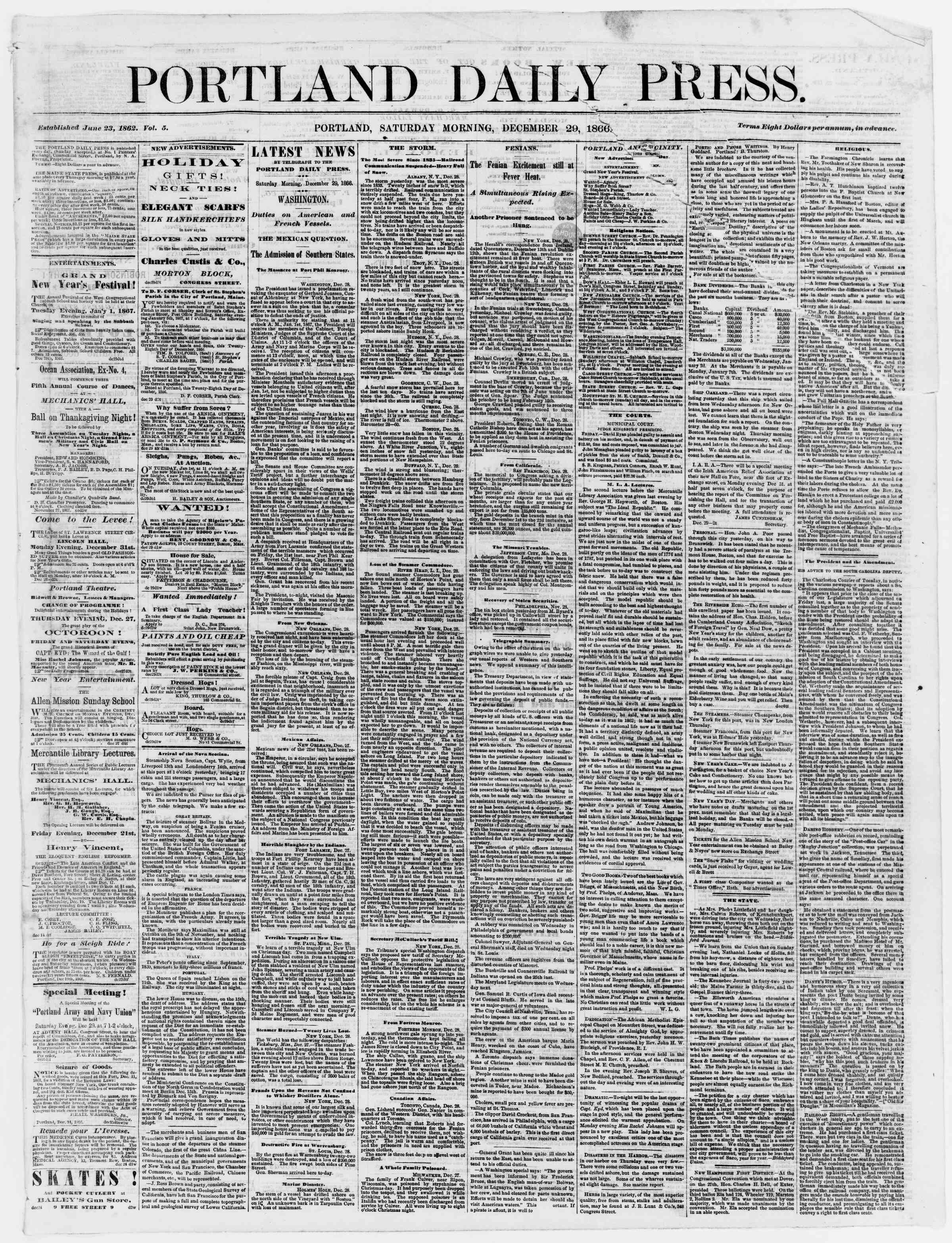 Newspaper of Portland Daily Press dated December 29, 1866 Page 1