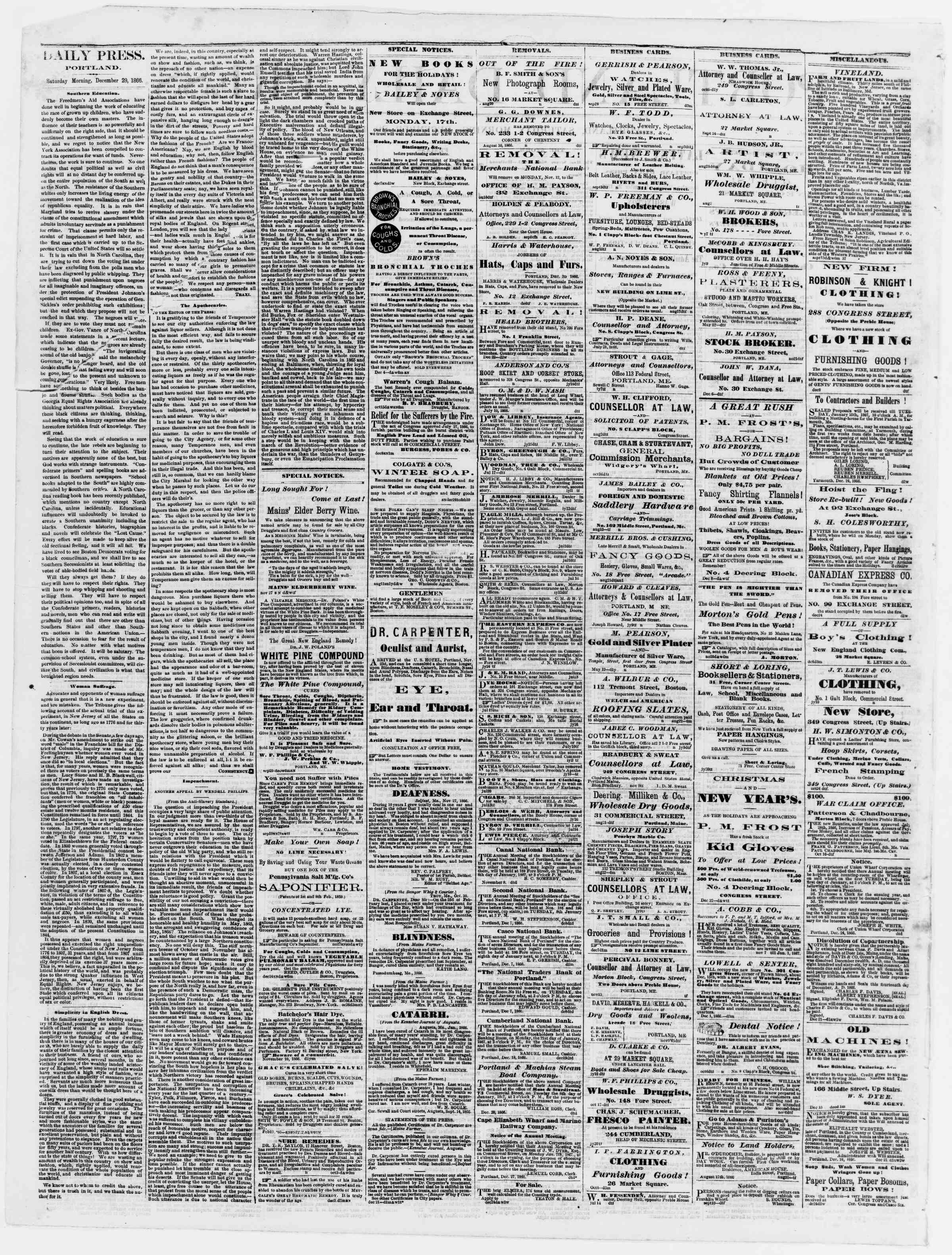 Newspaper of Portland Daily Press dated December 29, 1866 Page 2