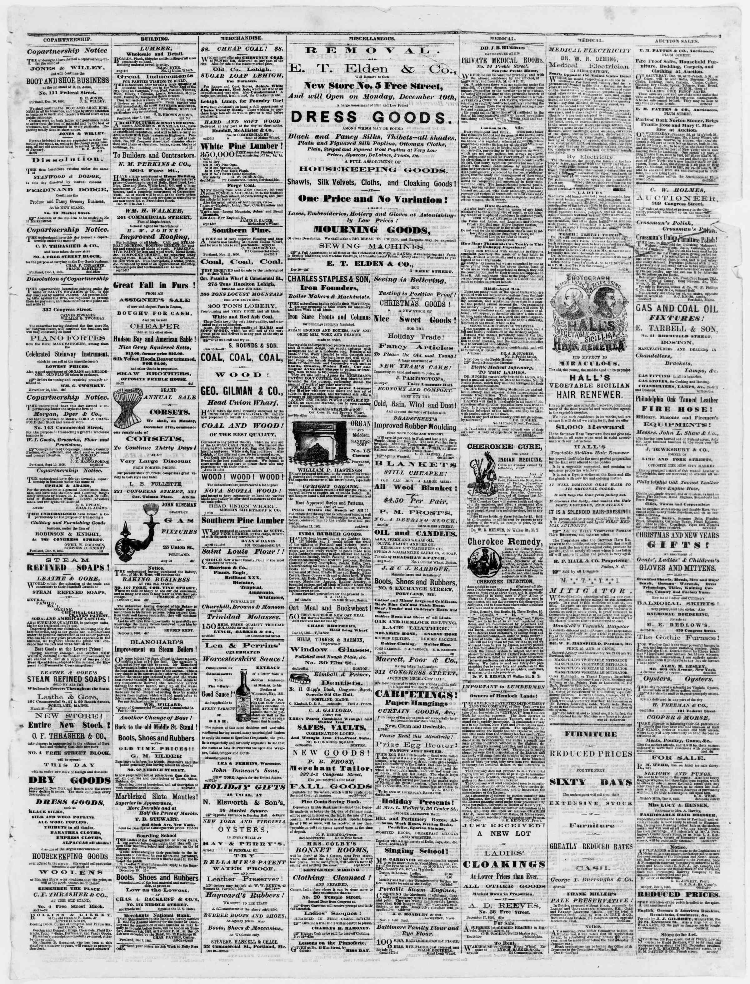 Newspaper of Portland Daily Press dated December 29, 1866 Page 3