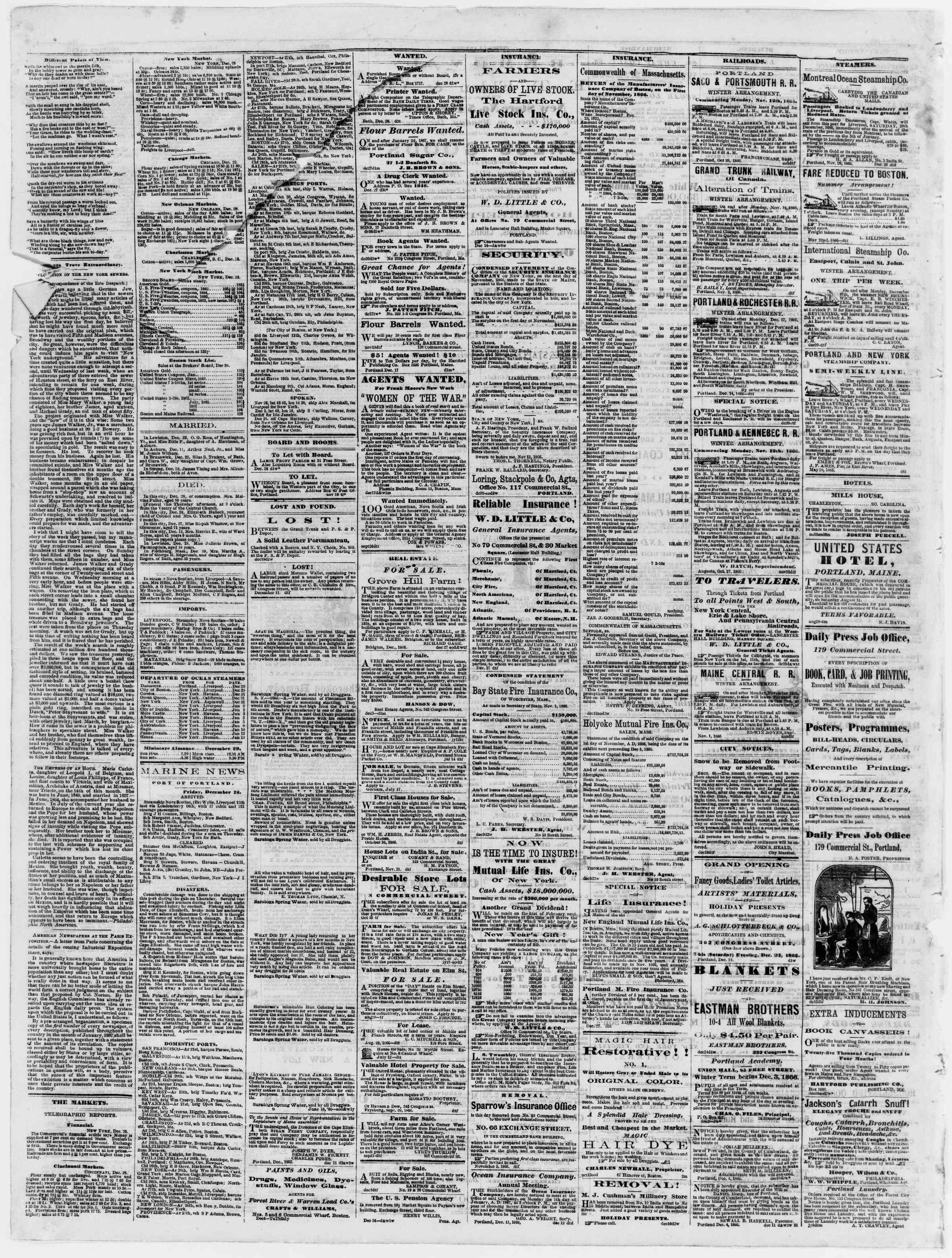 Newspaper of Portland Daily Press dated December 29, 1866 Page 4