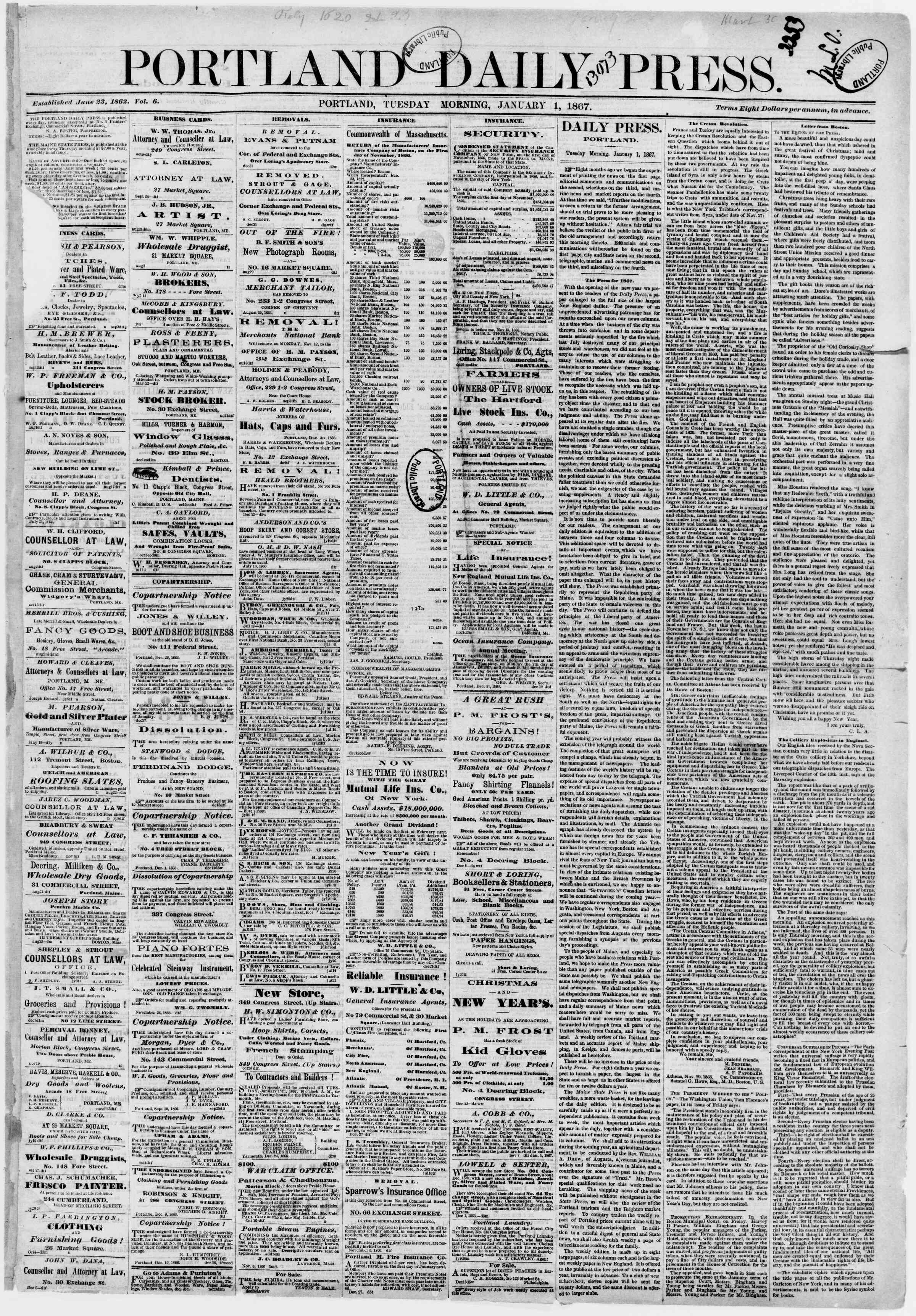 Newspaper of Portland Daily Press dated January 1, 1867 Page 1