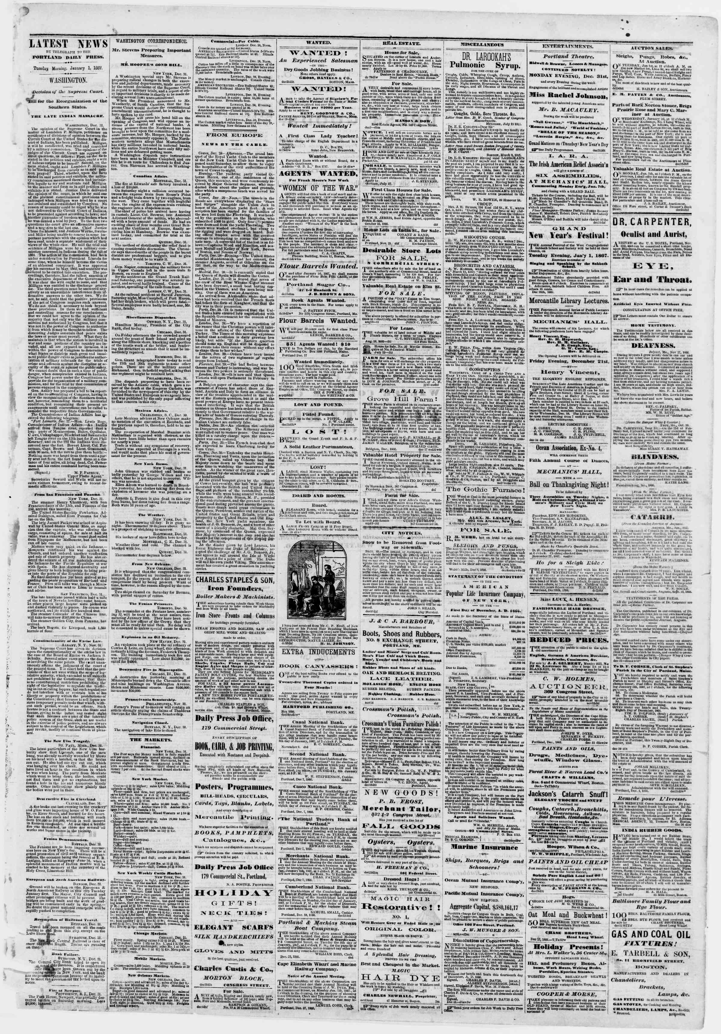 Newspaper of Portland Daily Press dated January 1, 1867 Page 3
