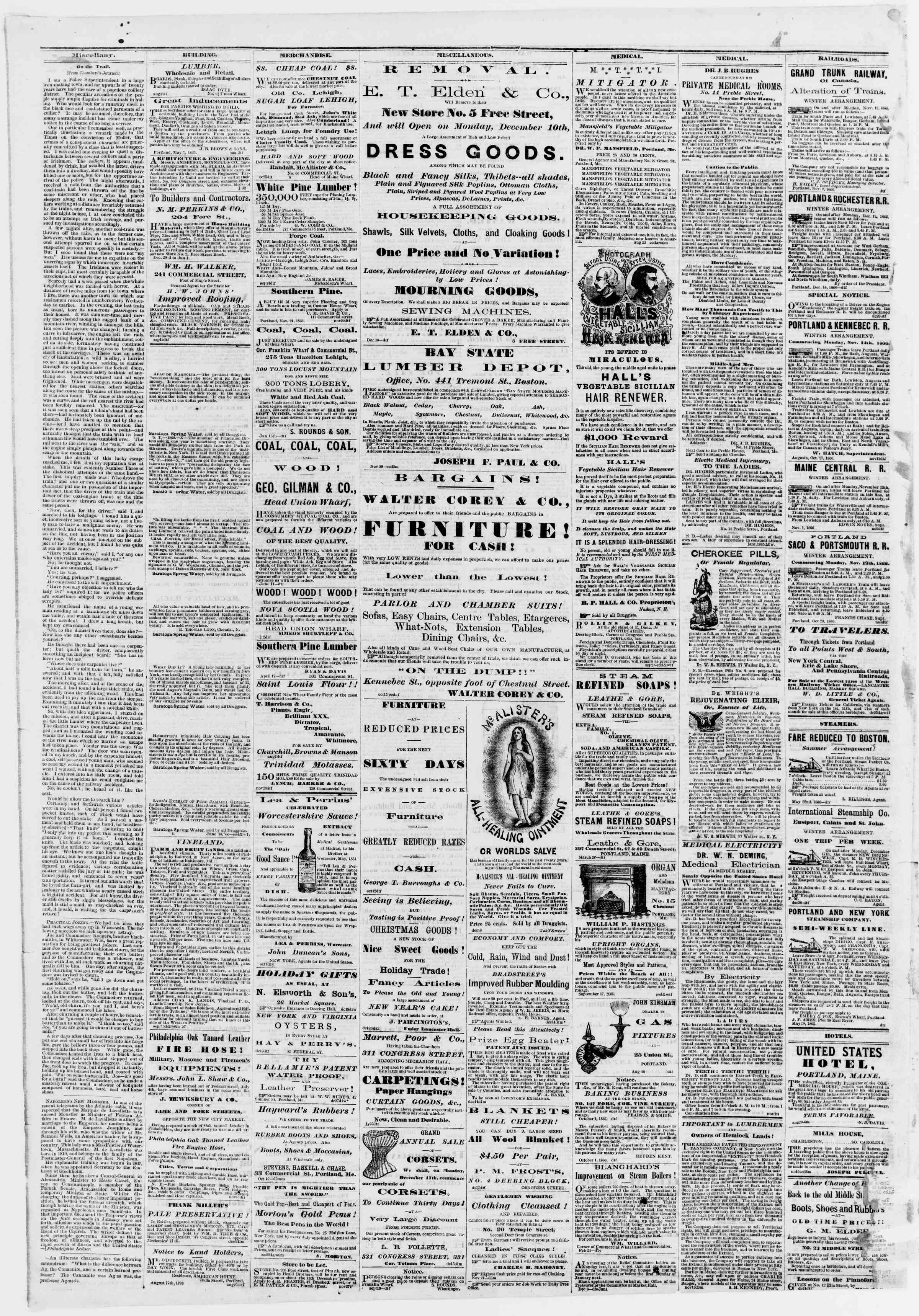 Newspaper of Portland Daily Press dated January 1, 1867 Page 4