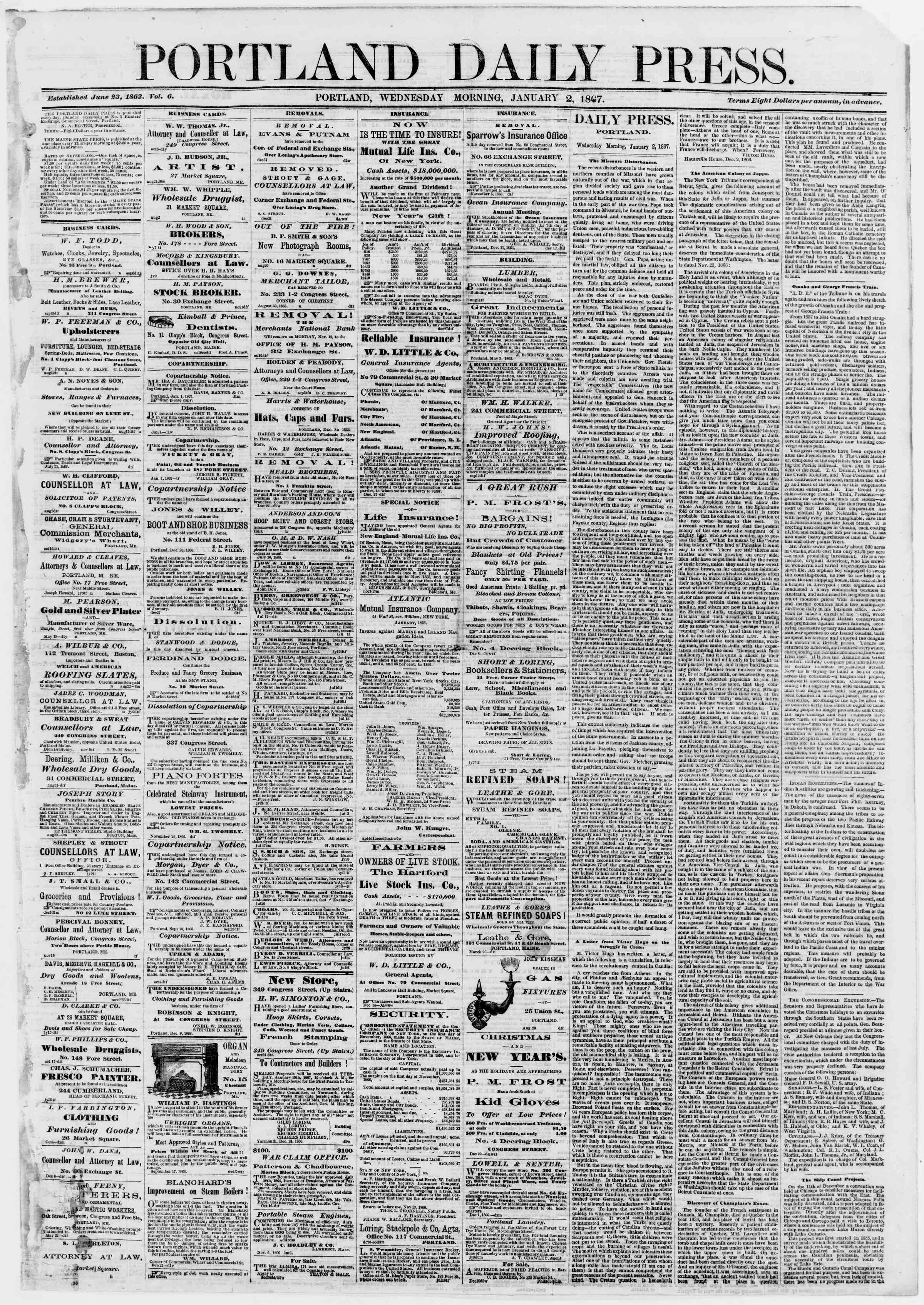 Newspaper of Portland Daily Press dated January 2, 1867 Page 1