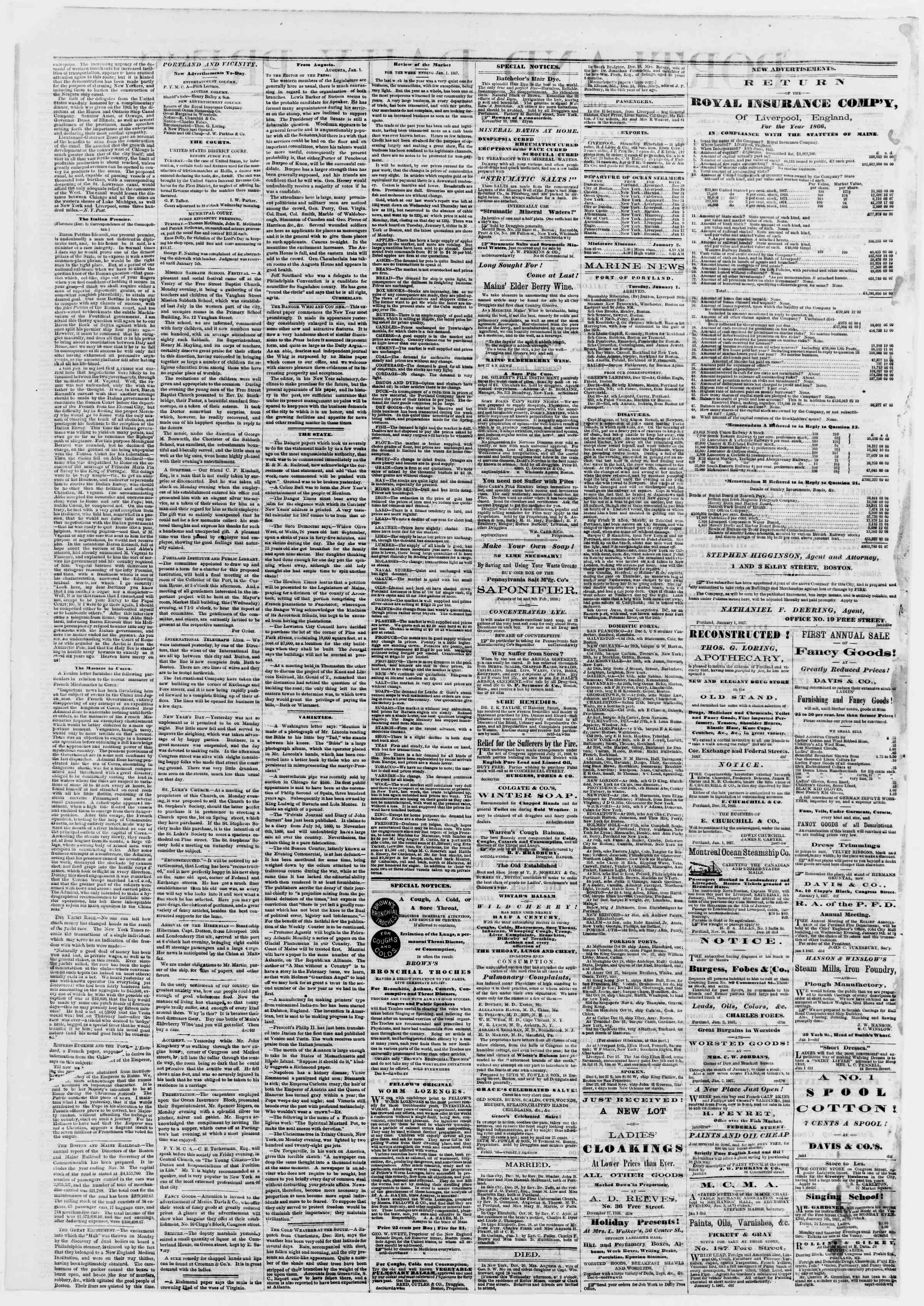 Newspaper of Portland Daily Press dated January 2, 1867 Page 2