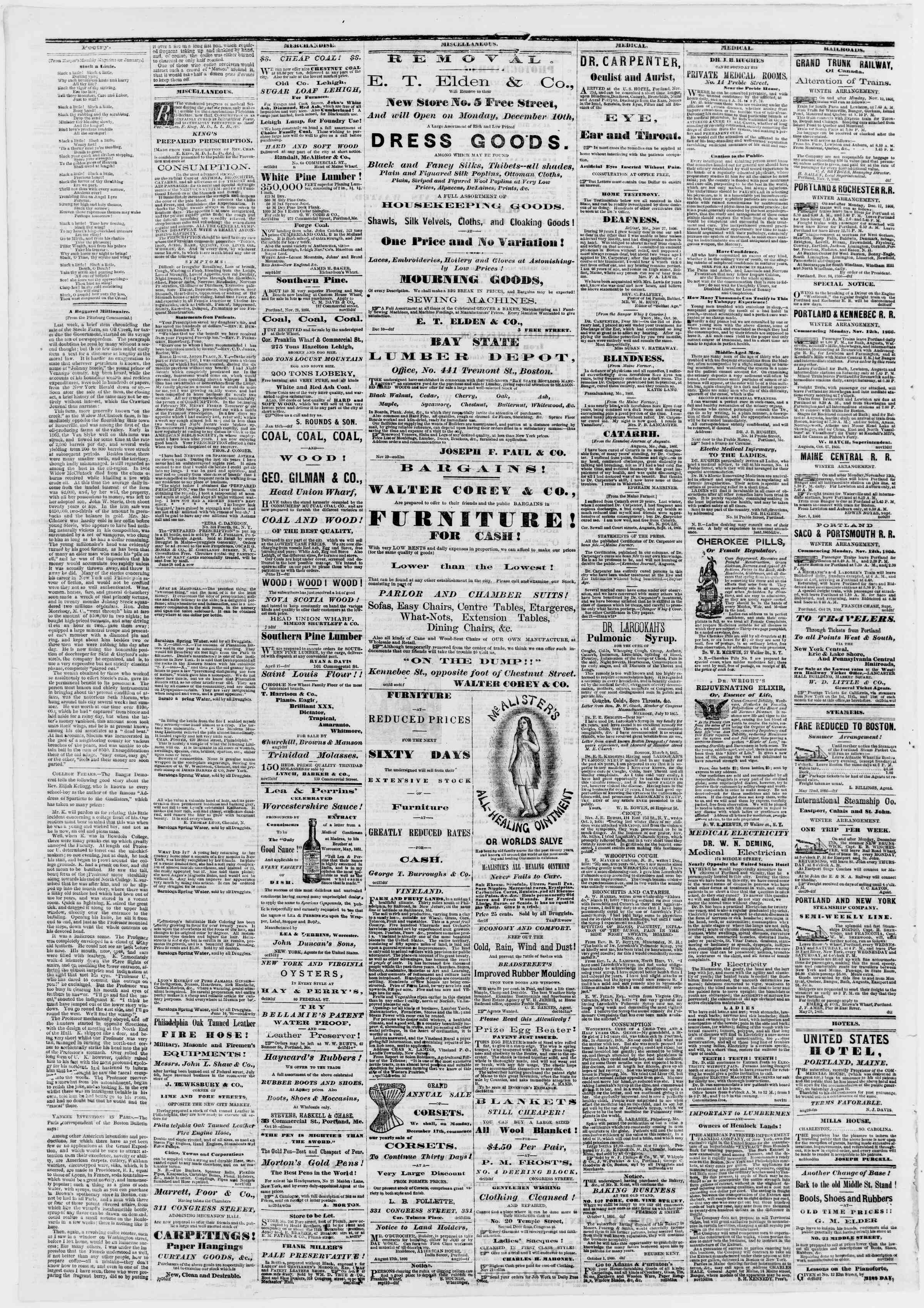 Newspaper of Portland Daily Press dated January 2, 1867 Page 4