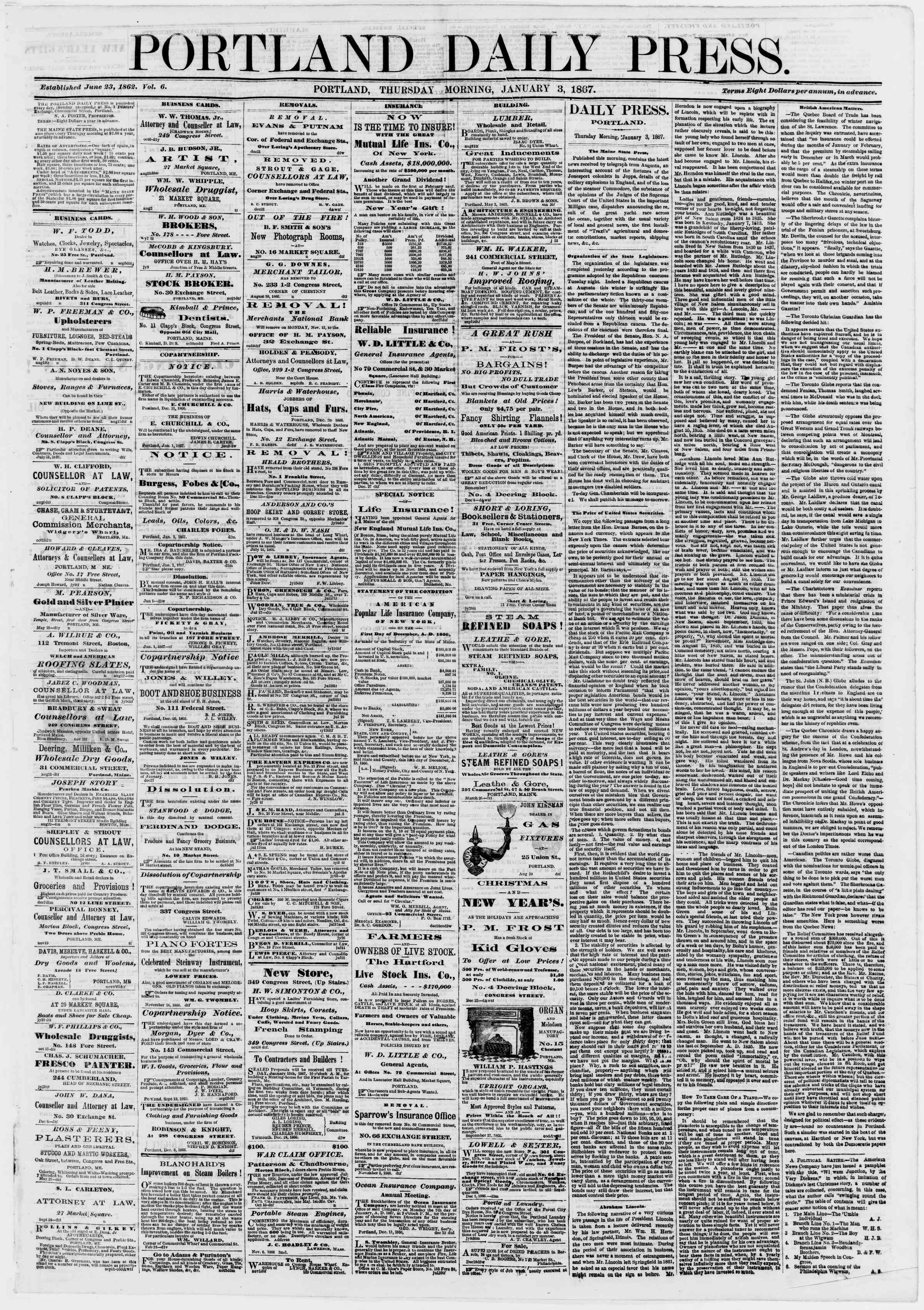 Newspaper of Portland Daily Press dated January 3, 1867 Page 1