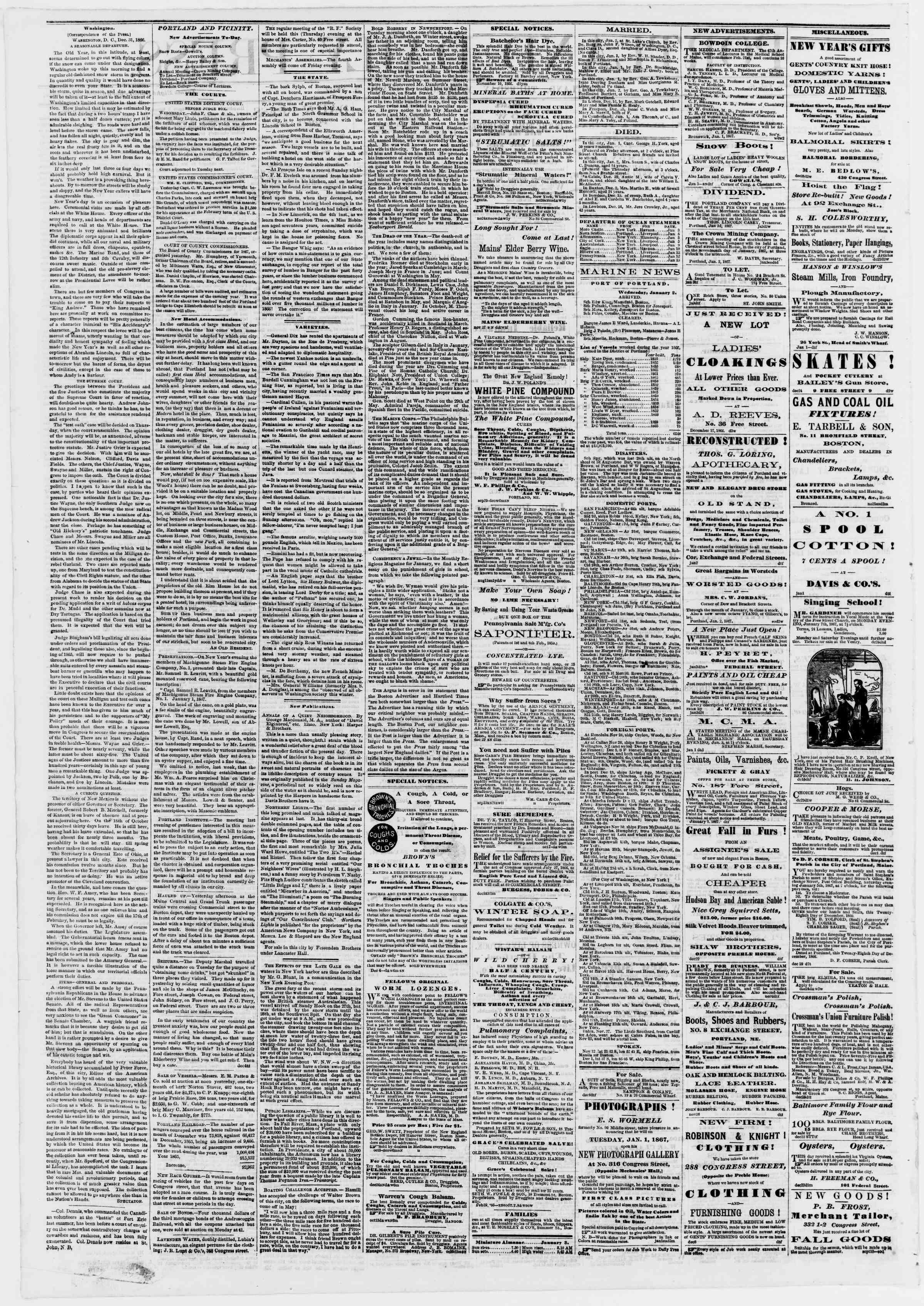 Newspaper of Portland Daily Press dated 3 Ocak 1867 Page 2
