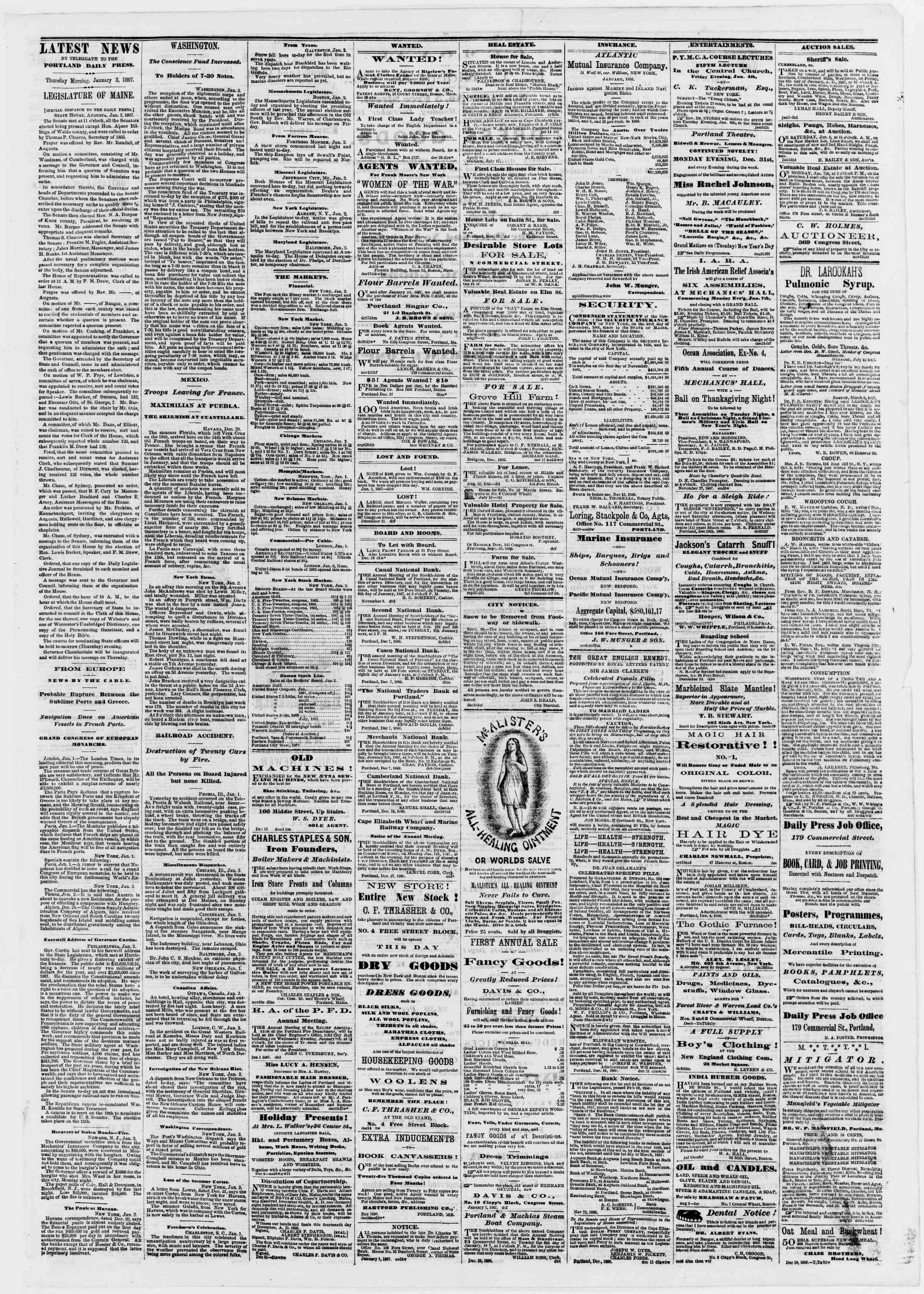 Newspaper of Portland Daily Press dated January 3, 1867 Page 3
