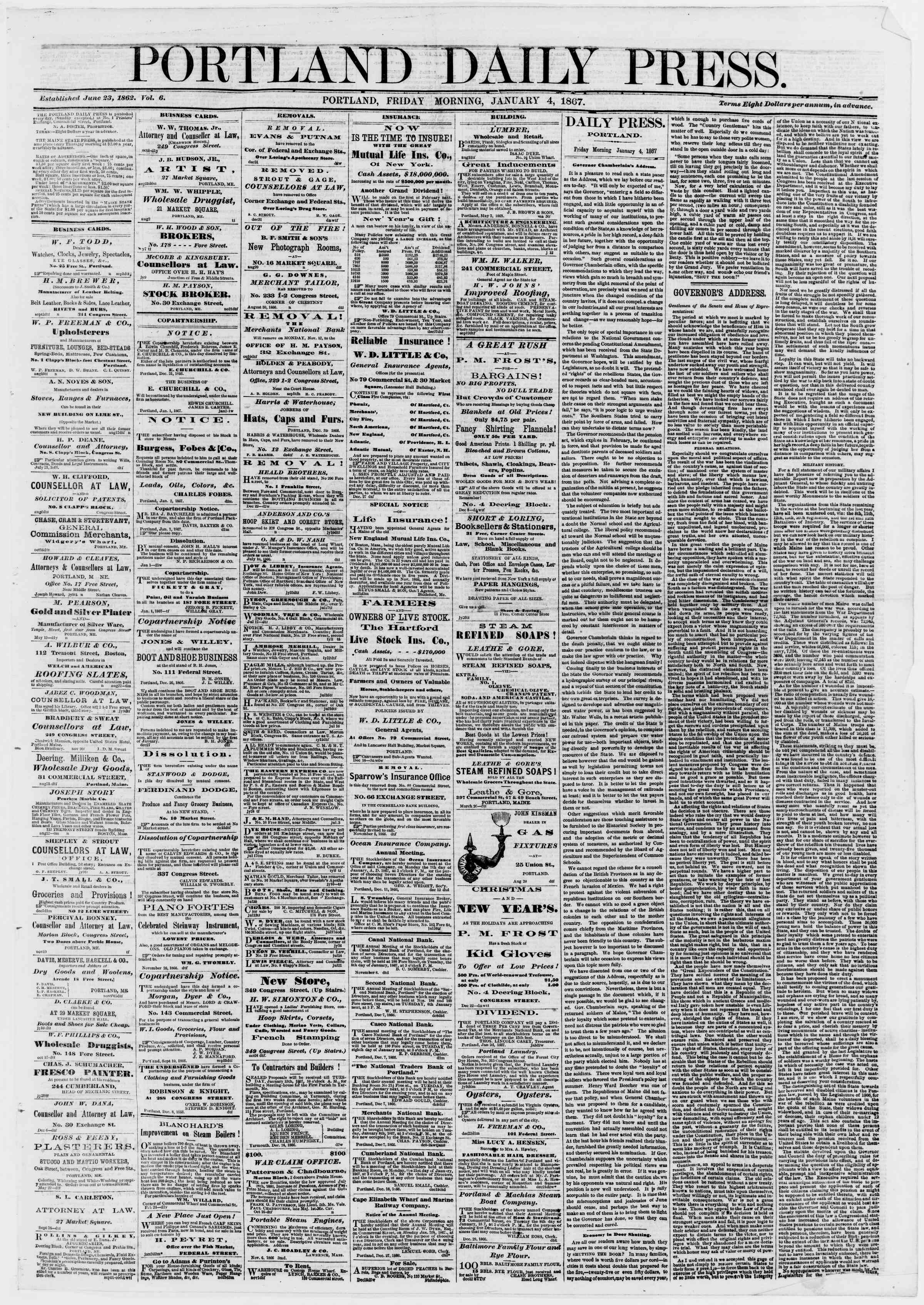 Newspaper of Portland Daily Press dated January 4, 1867 Page 1